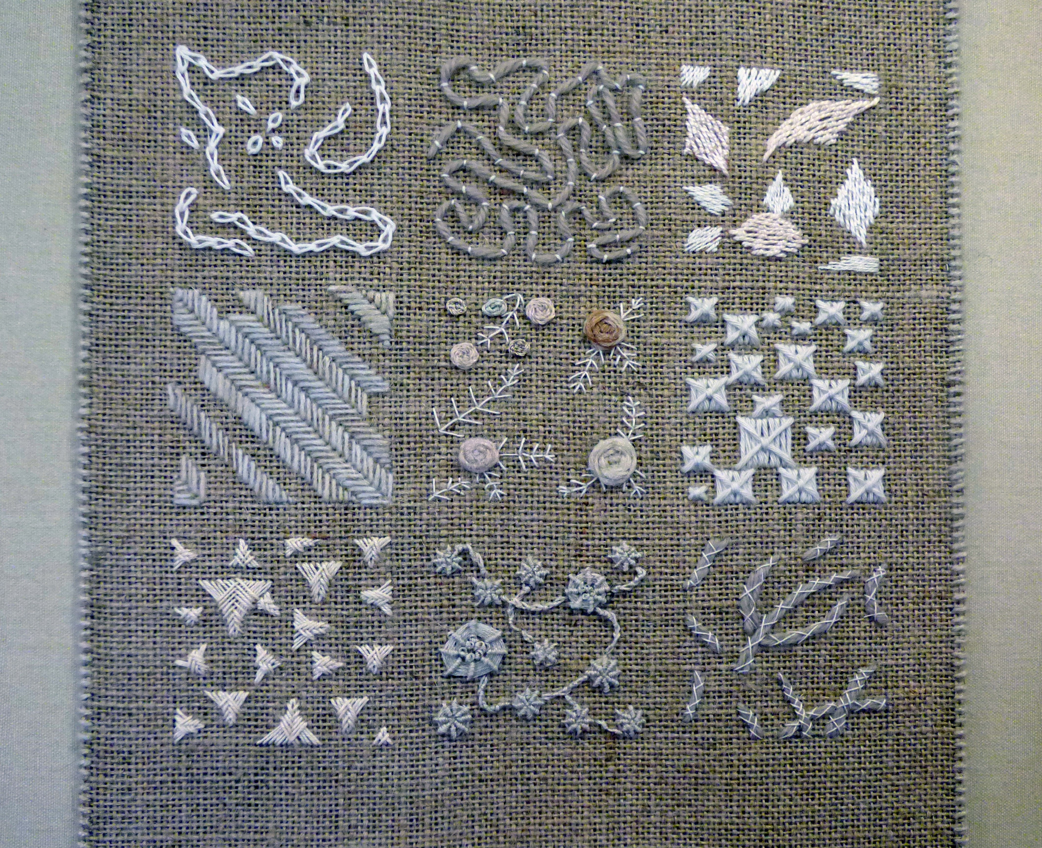 NATURAL NINE PATCH by Russel Ramsdon, hand embroidery