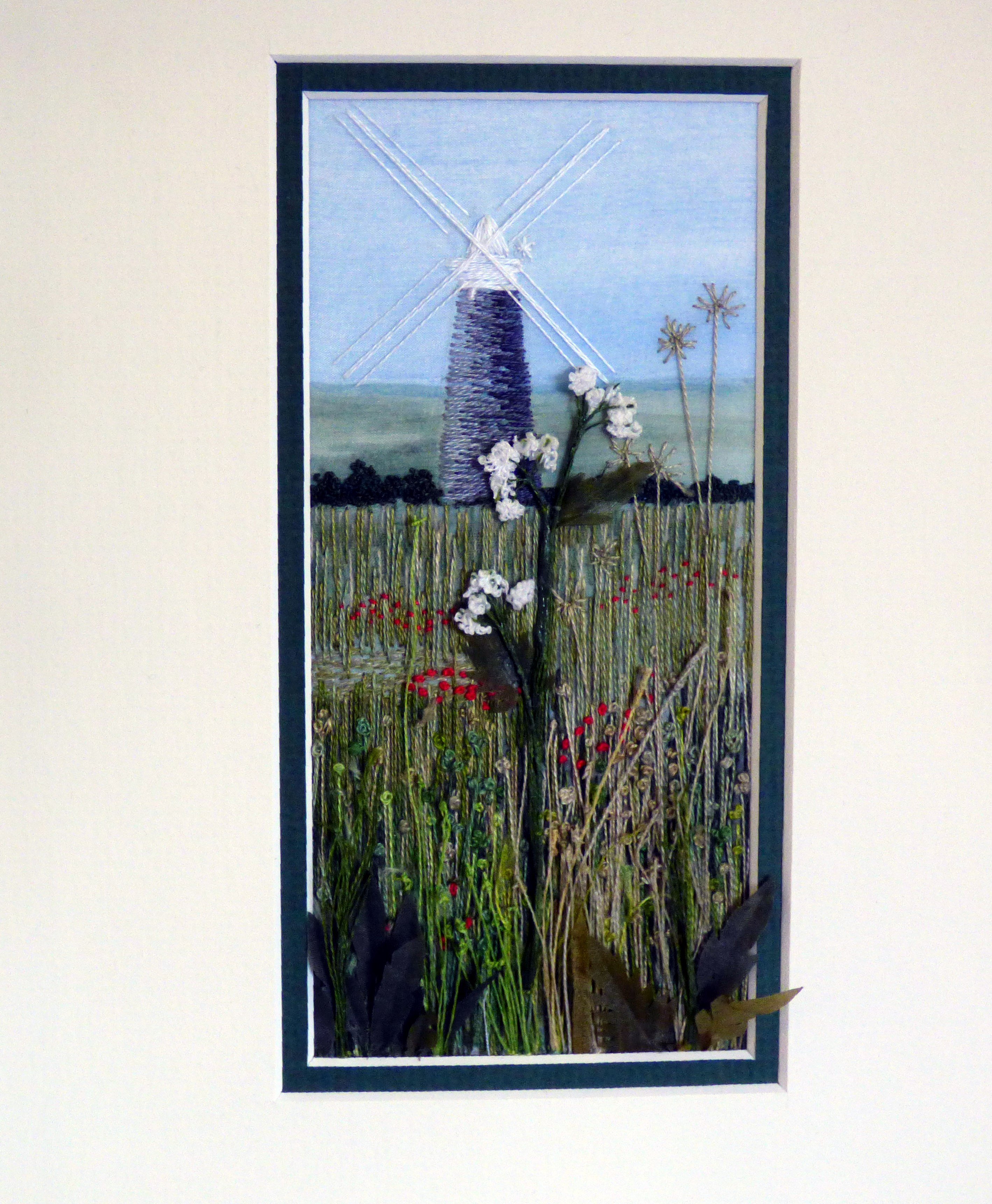 EAST ANGLICAN VIEW by Denise Sullivan, 2015, hand stitching on silk