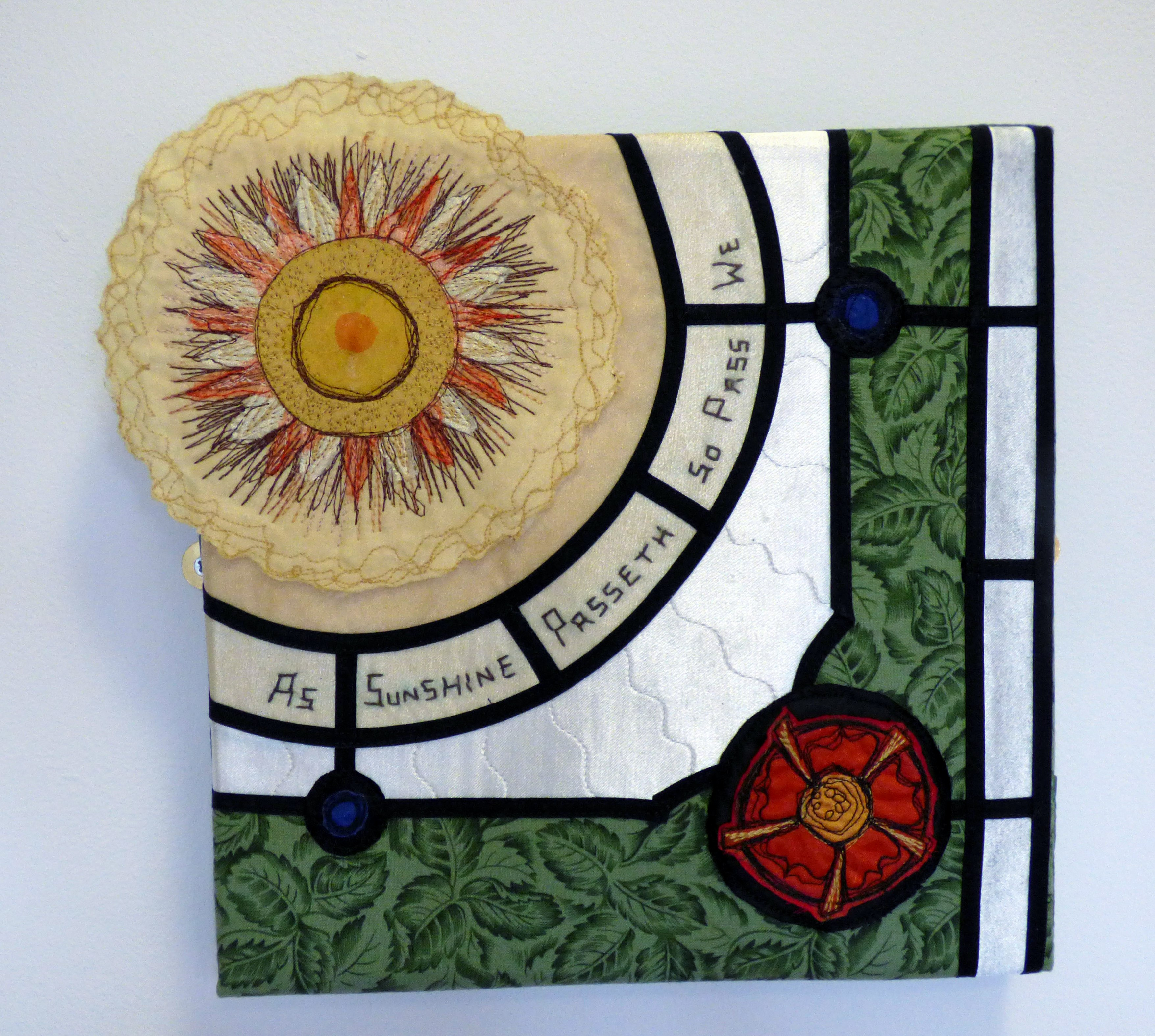 FLOWERGLASS by Serena Watson, applique and machine embroidery