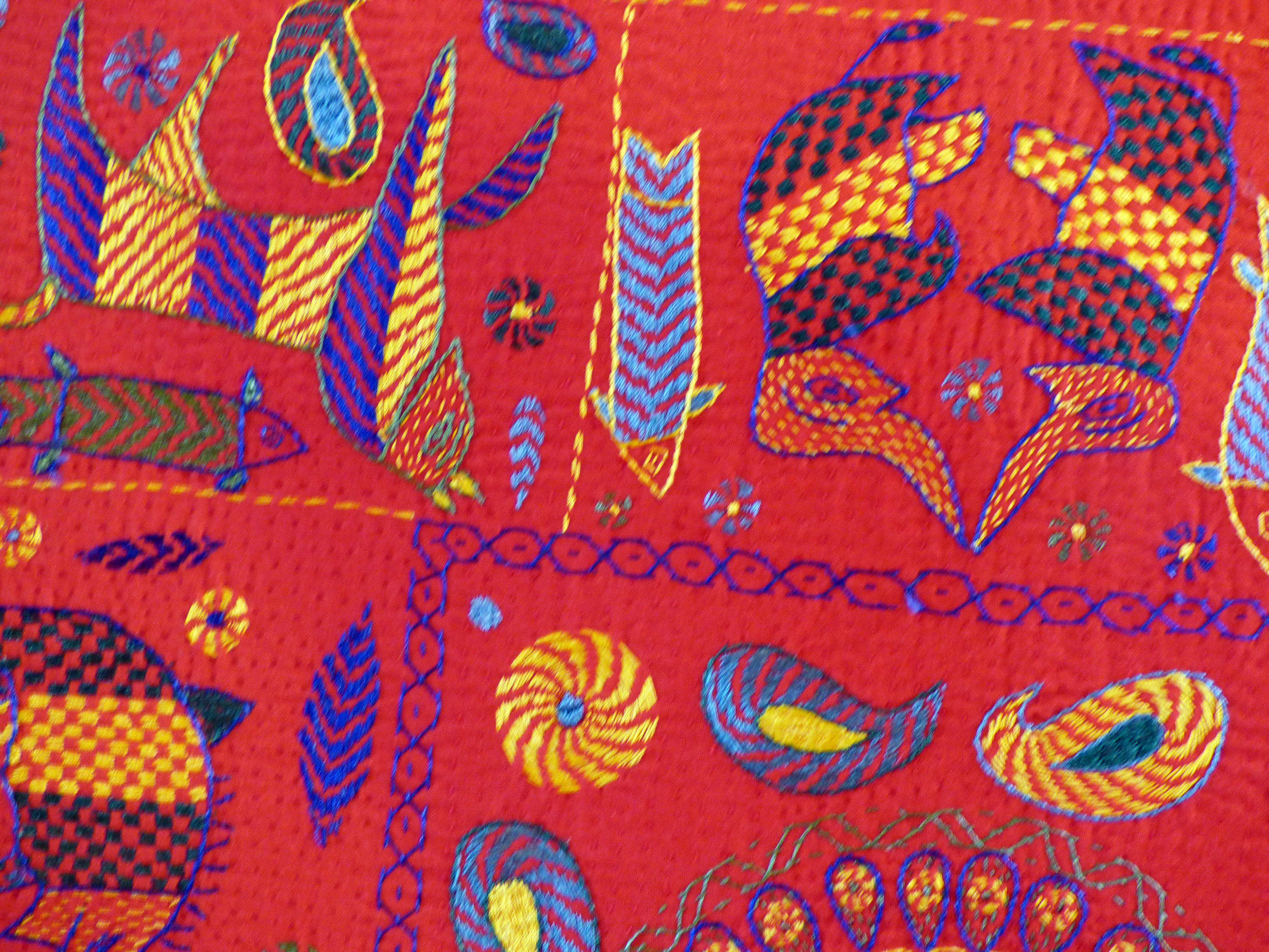 detail of kantha embroidery by women of Bangladesh at Threading Dreams exhibition at St Barnabus, April 2016