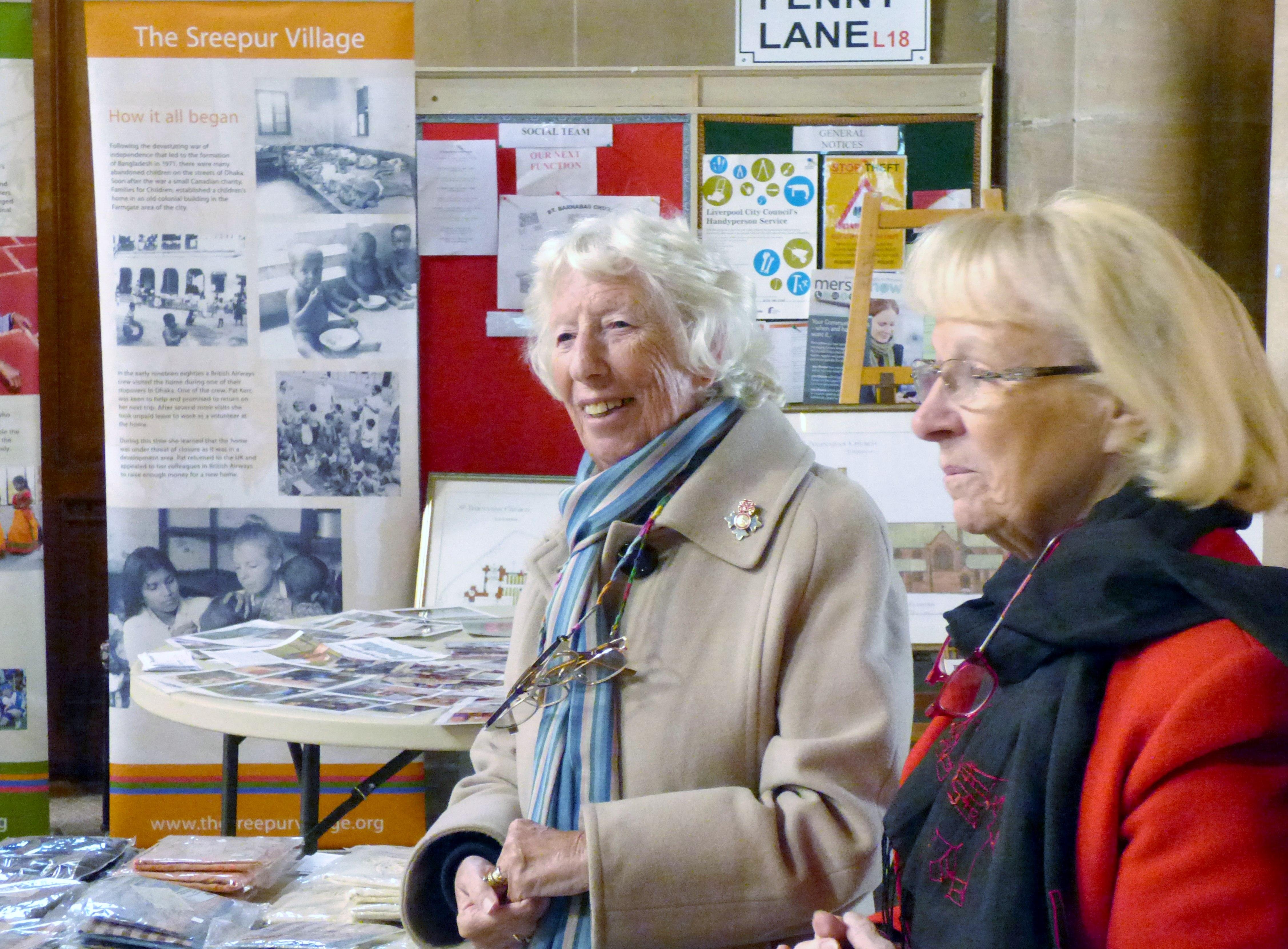 Rubina Porter MBE and Kathy Green at Sreepur stall in St Barnabus, April 2016