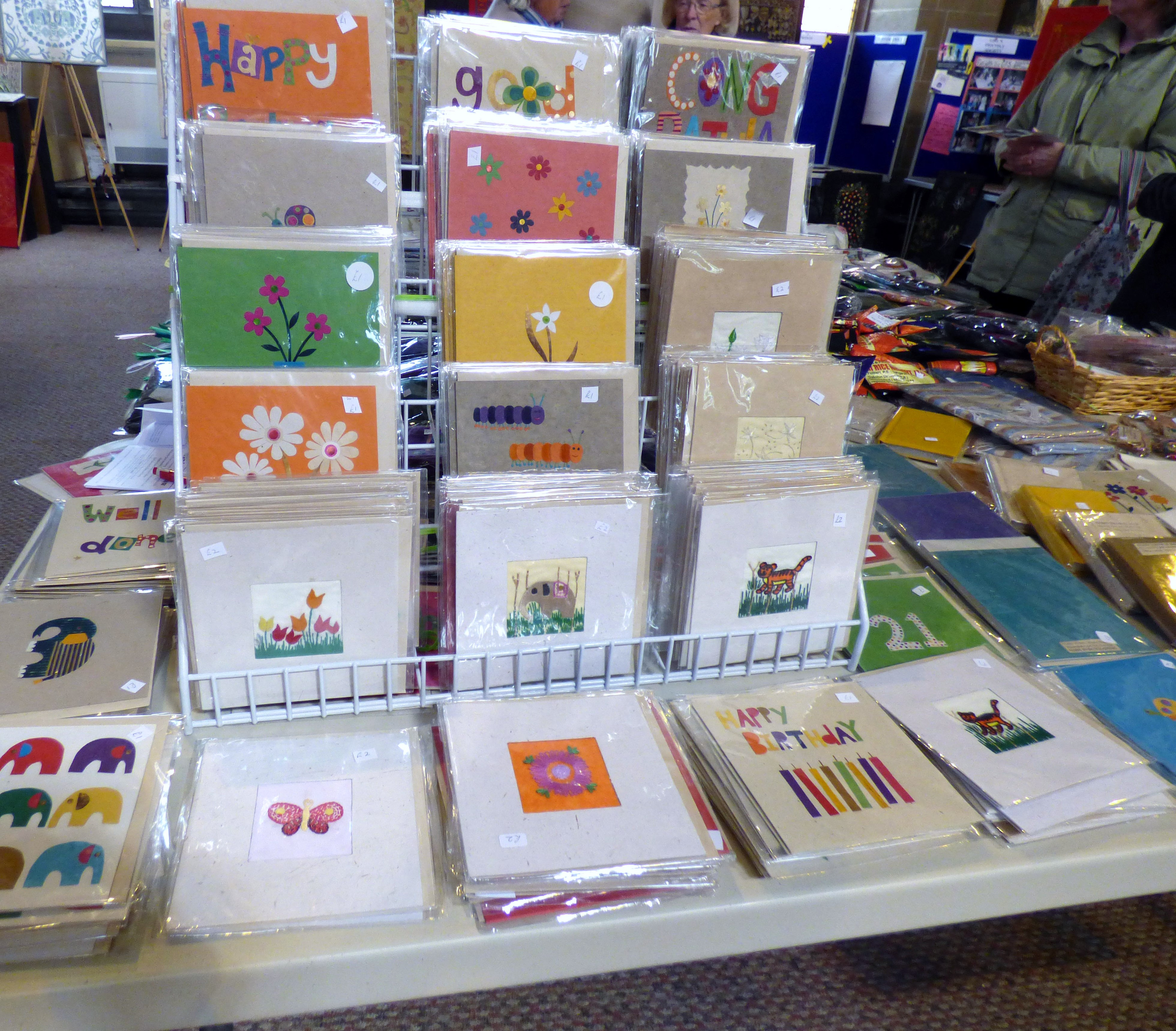 handmade cards for sale at Sreepur stall in St Barnabus, April 2016