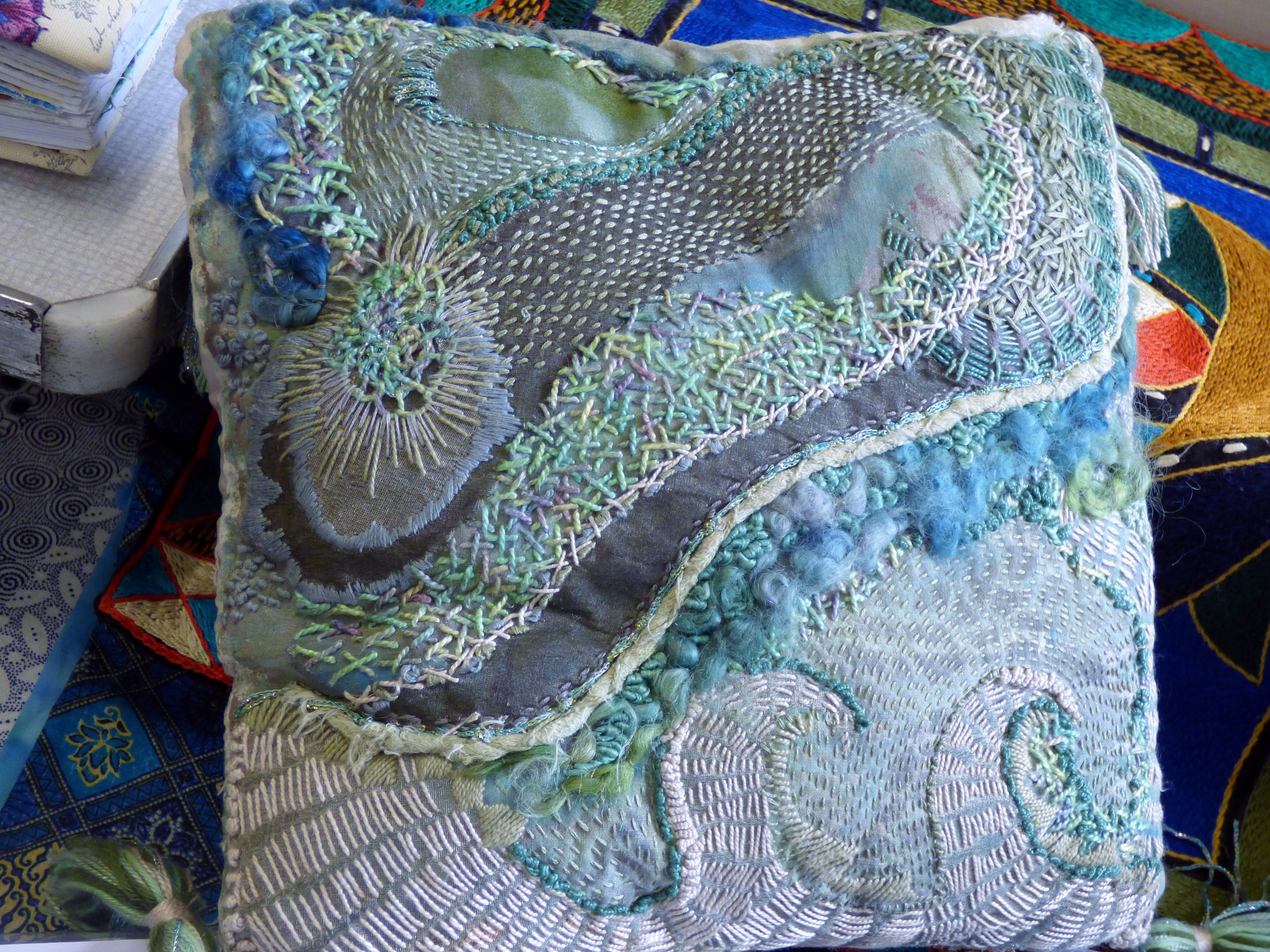 CUSHION with water theme by Catherine Leighton, Macclesfield EG