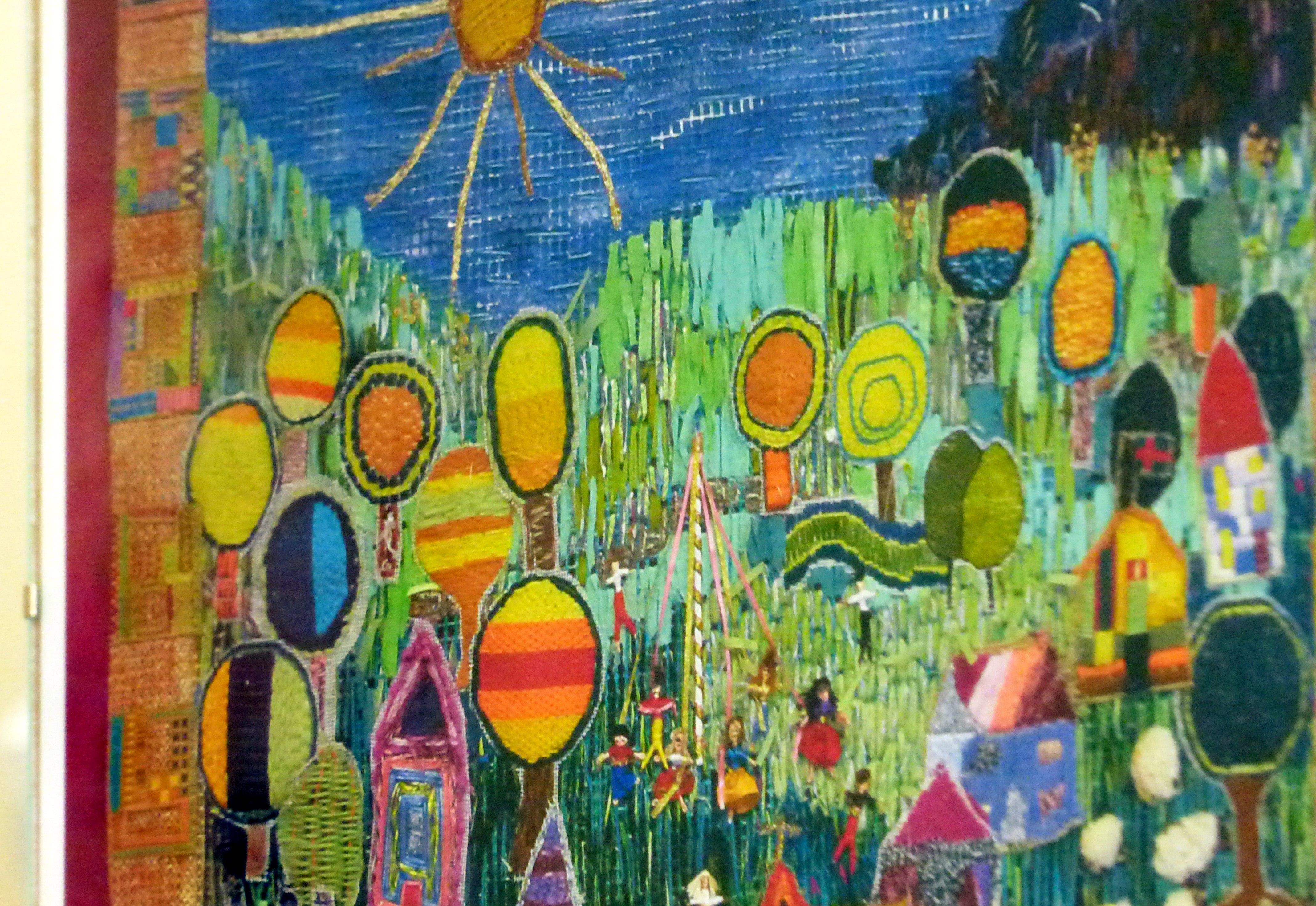 detail of Hunderwasser inspired hanging made by children from Kettleshulme C of E school, Derbyshire