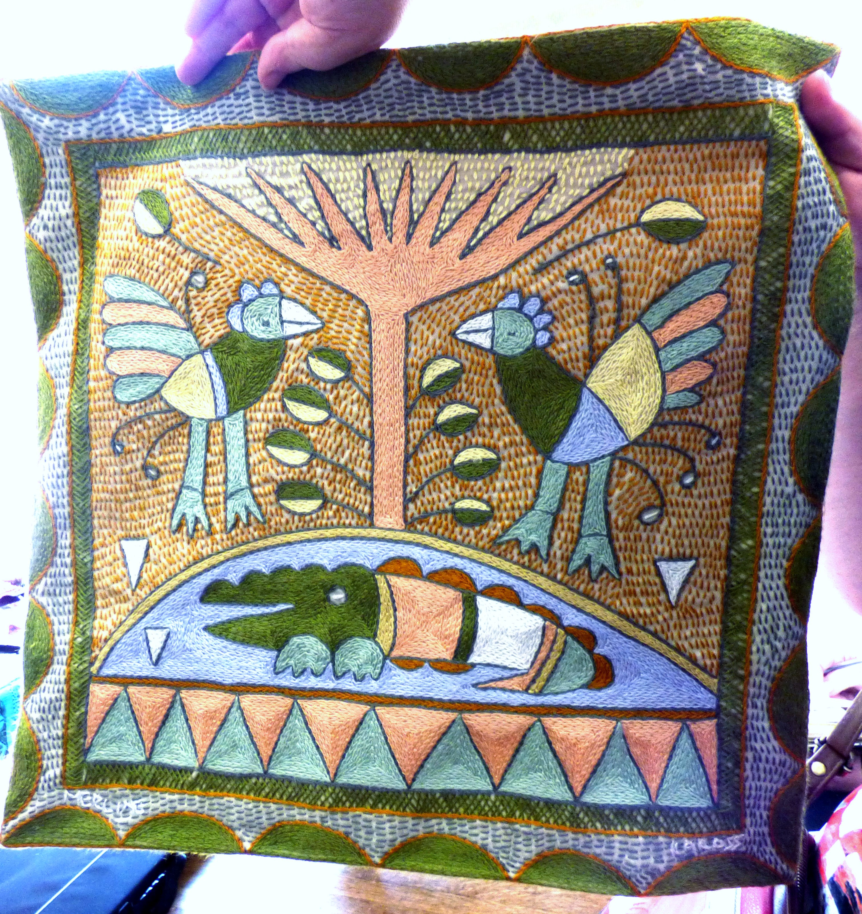 hand stitched African embroidery