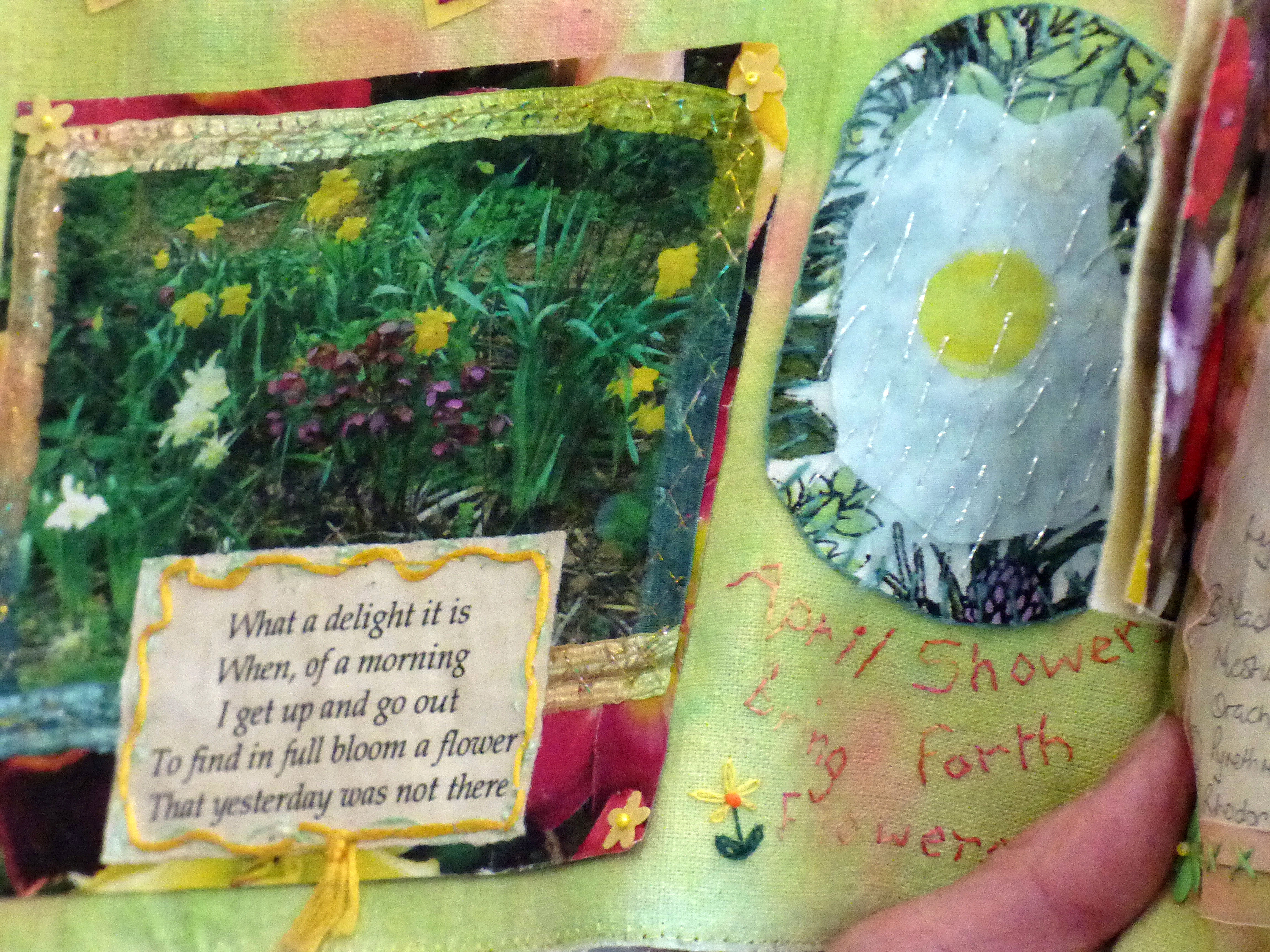 detail of GARDENS textile journal by Chris Harris