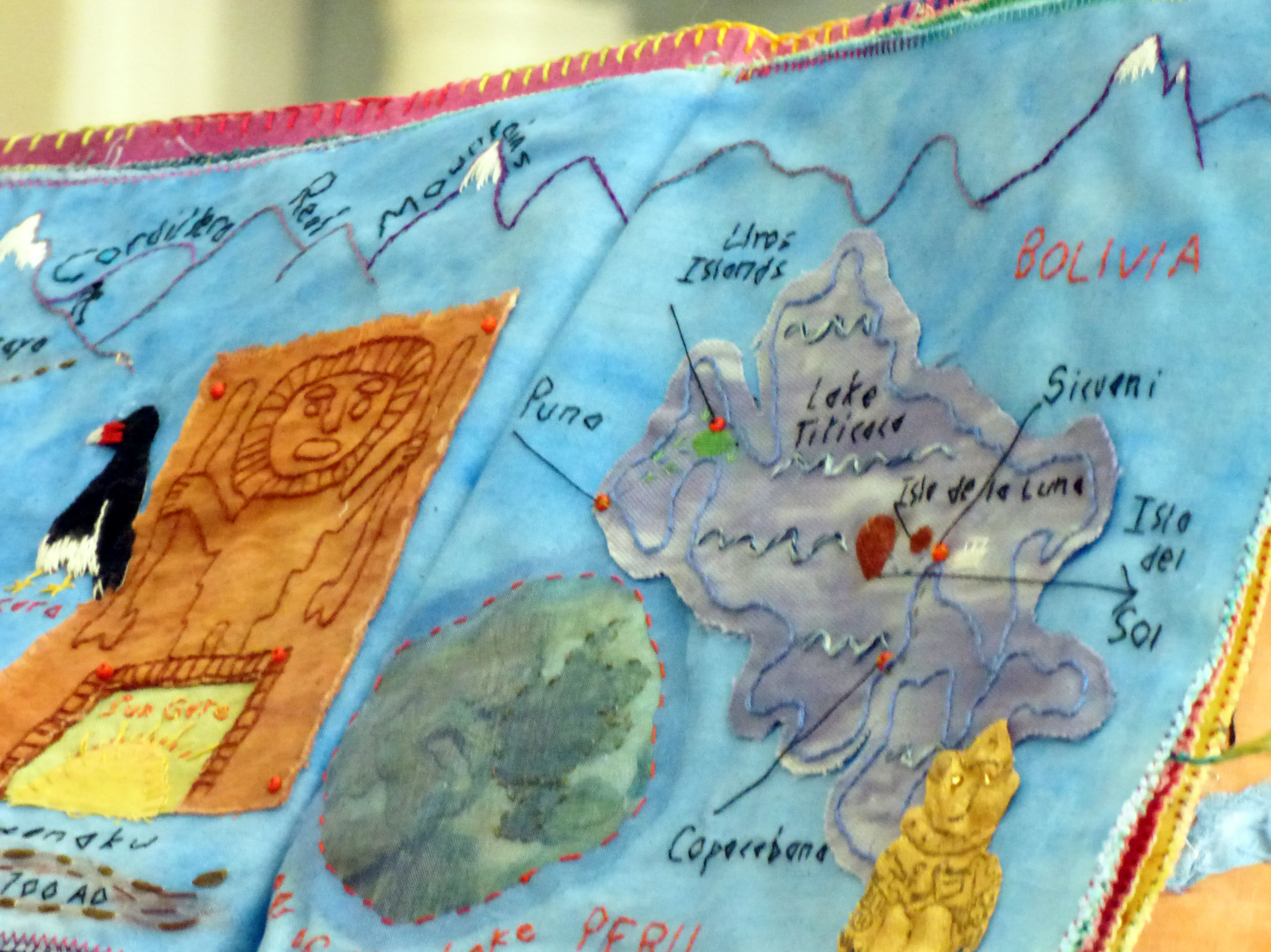 detail of textile journal by Chris Harris on a trip to South America