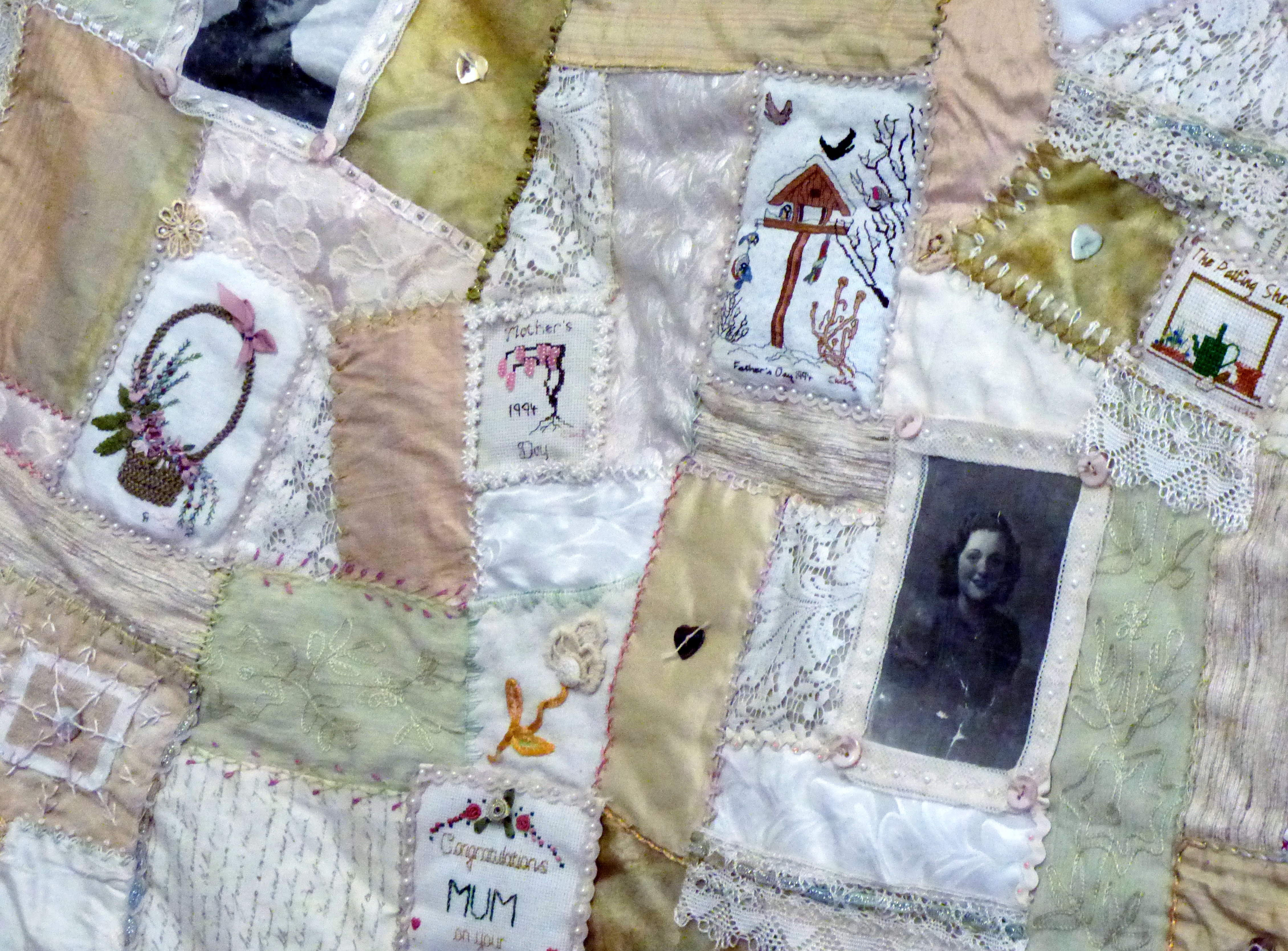 detail of QUILT by Chris Harris made to commemorate her mother