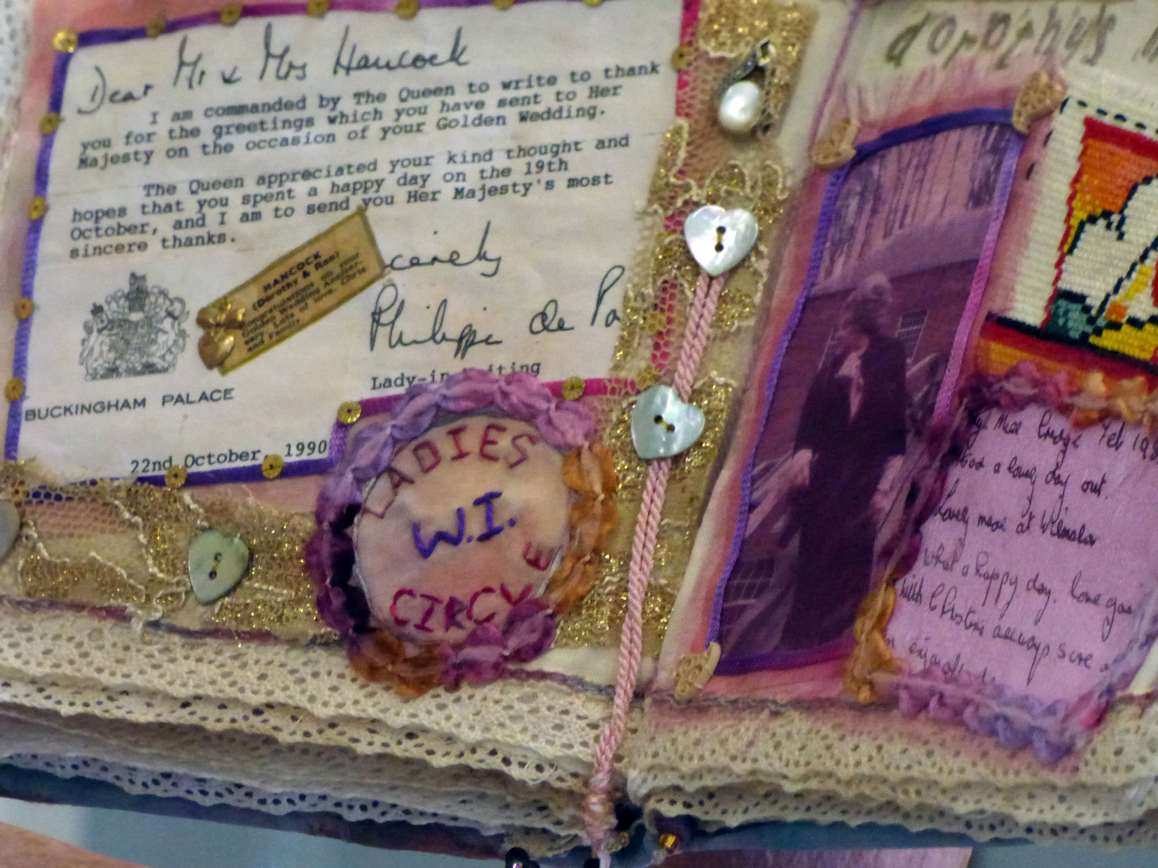 detail of textile journal by Chris Harris on the life of her mother
