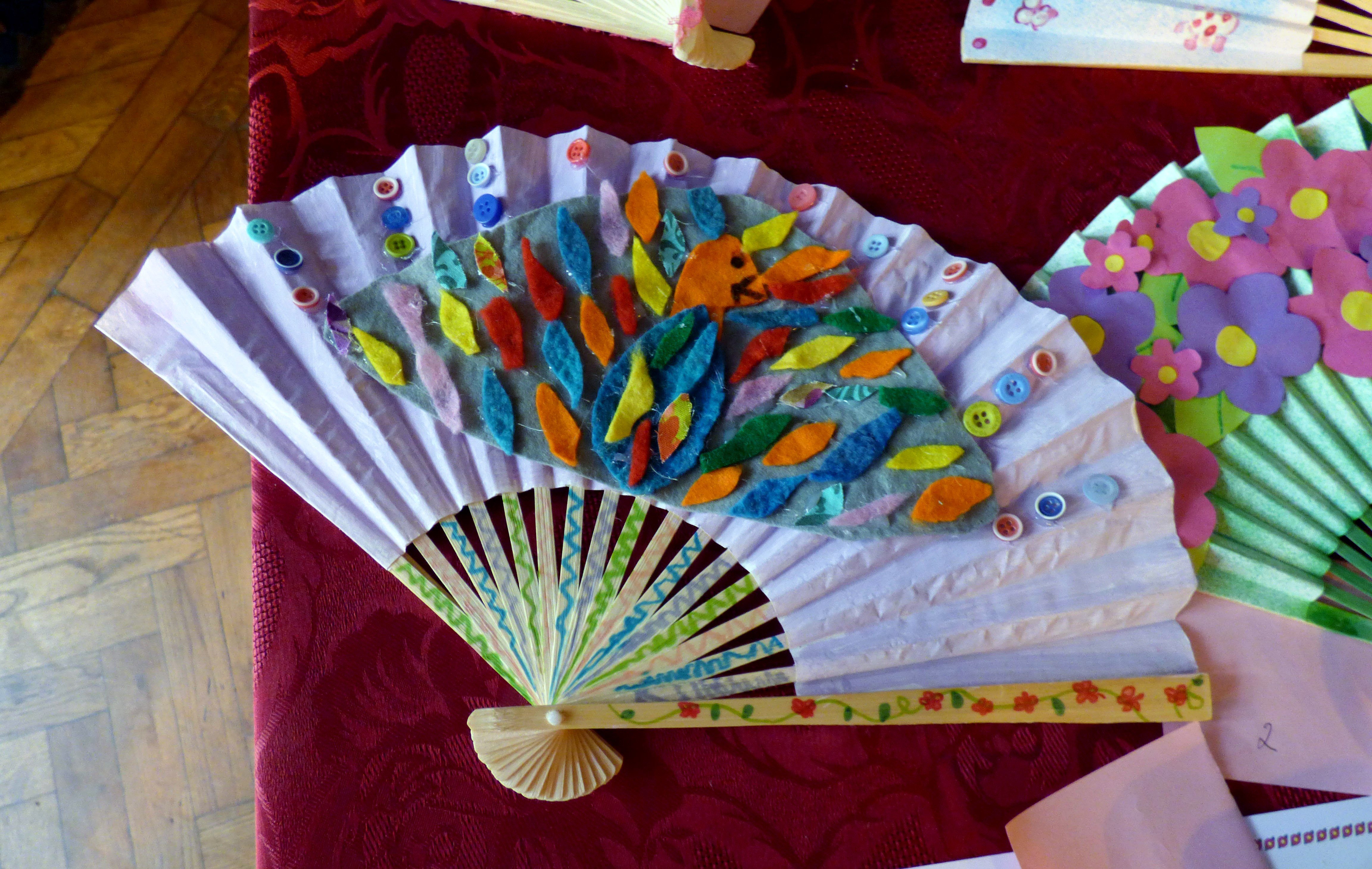"""First Prize winning entry to """"Decorate a Fan"""" competition for YE members at MEG Summer Tea Party 2016"""
