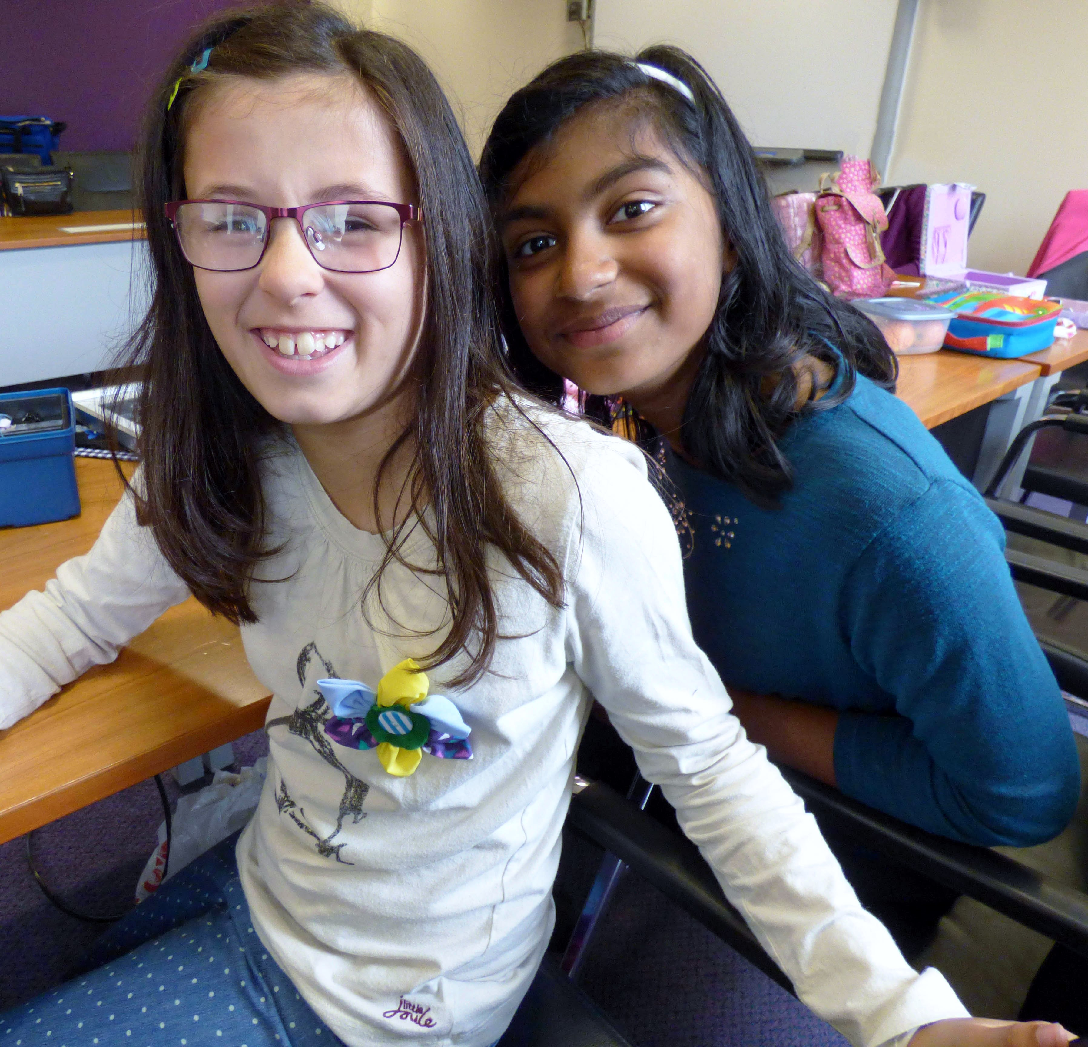 Zoe and Grace with a flower badge made in YE group 2016