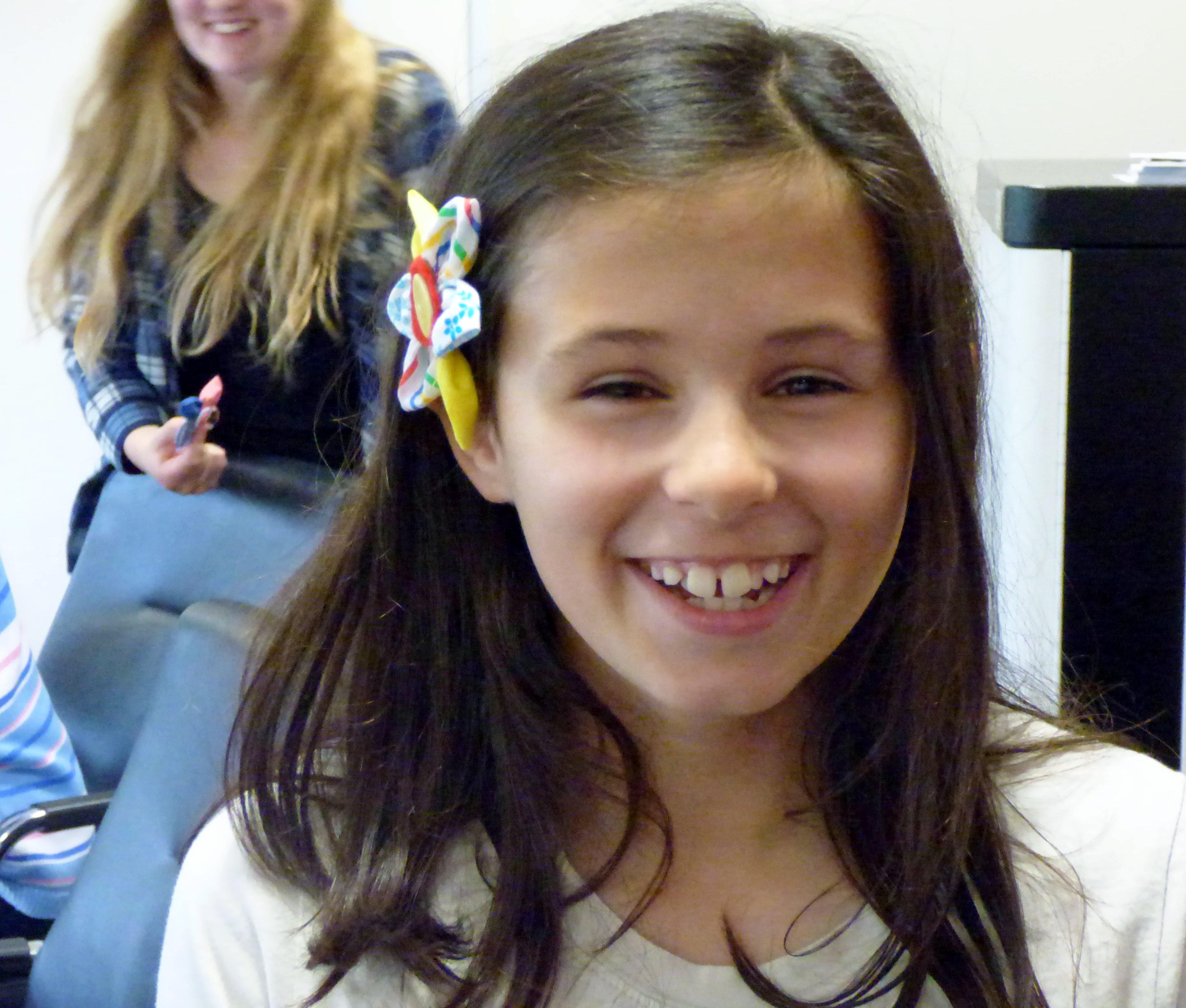 ZOE with her flower hair slide made in YE group 2016