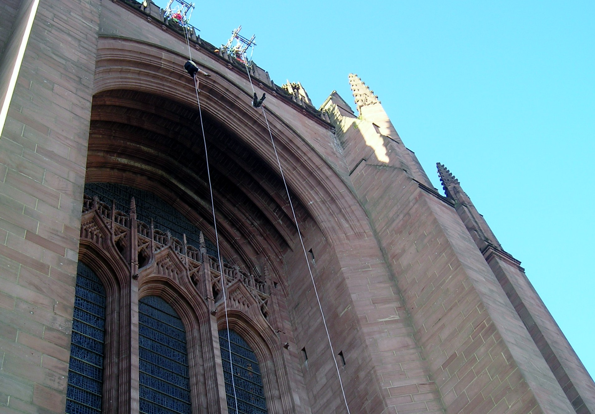 Ken Porter & his grandson Matthew Abbott abseiling down Liverpool Cathedral for Sreepur charity, Aug 2014