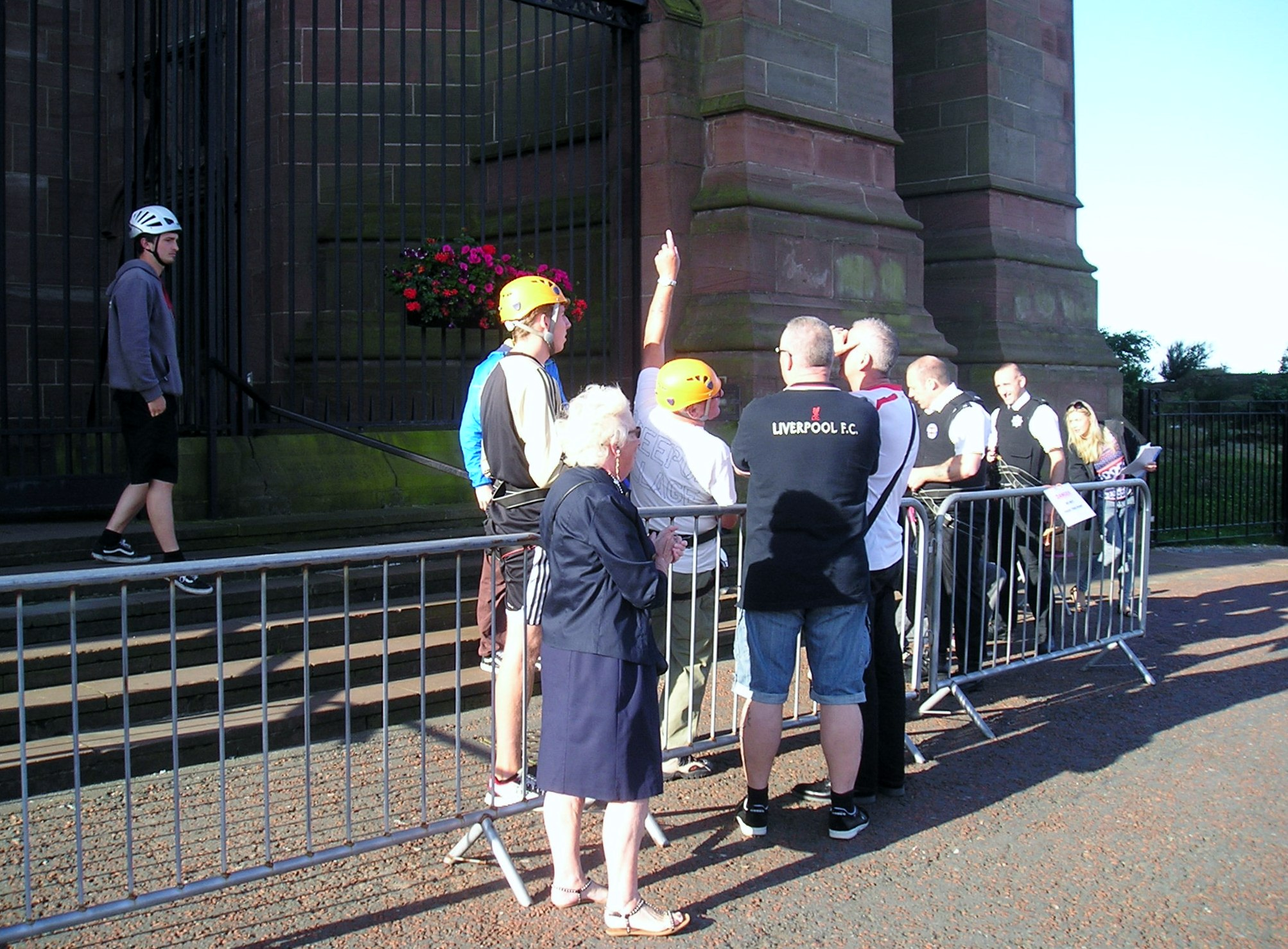 Ruby Porter waits at the bottom to greet her husband and grandson after their abseil down Liverpool Cathedral, Aug 2014 to fundraise for Sreepur charity