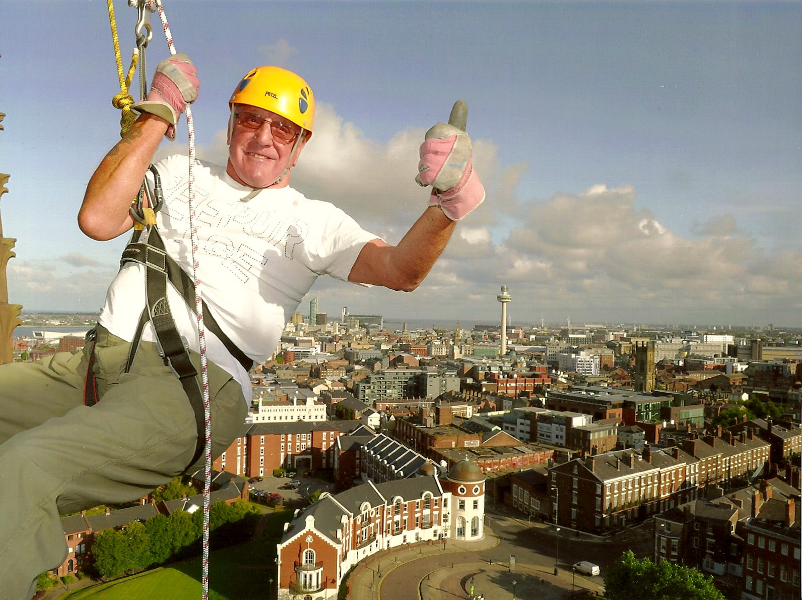 Ken Porter on his descent down Liverpool Cathedral to fundraise for Sreepur charity