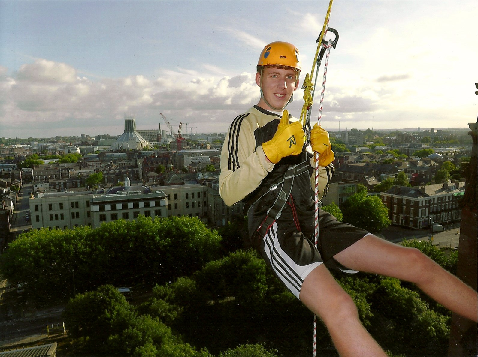 Matthew Abbott on his descent down Liverpool Cathedral to fundraise for Sreepur charity
