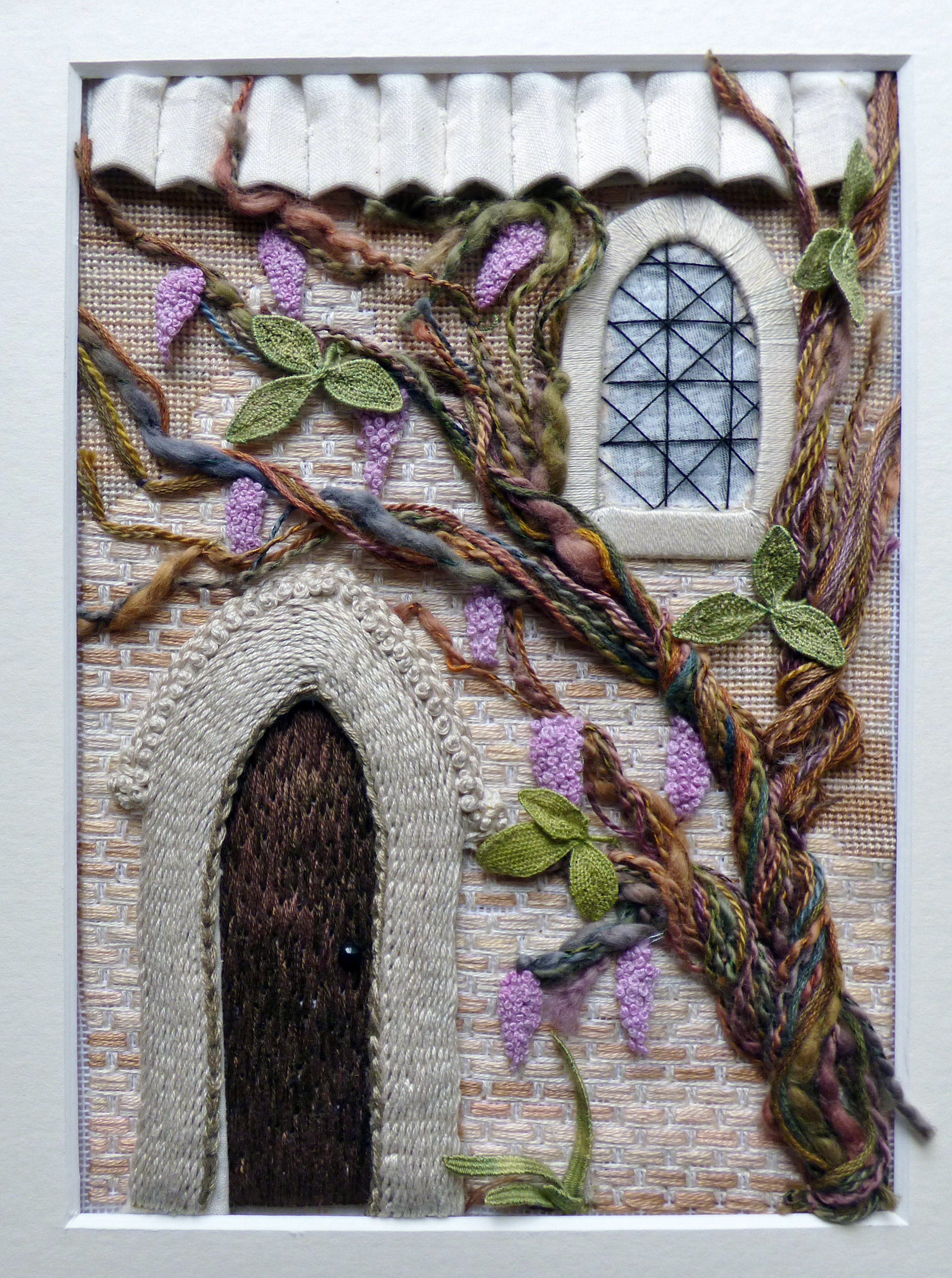 THE HOUSE WALL by Kay Dennis, stumpwork