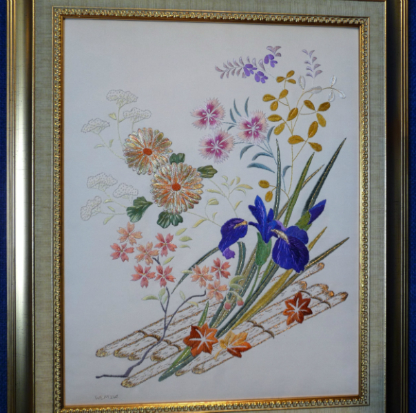 BAMBOO BOUQUET by Erica McKenzie, Japanese style embroidery worked in silk on silk kimono fabric