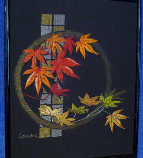 MAPLE LEAVES by Sandra McFarlane, silk on silk fabric