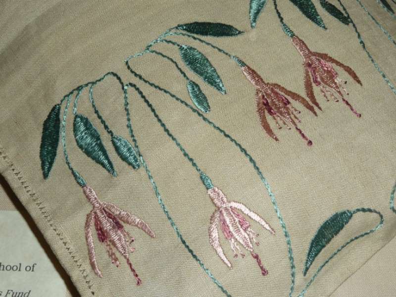 detail from a shoe bag embroidered in silk on linen by the Glasgow School of Art, circa 1900