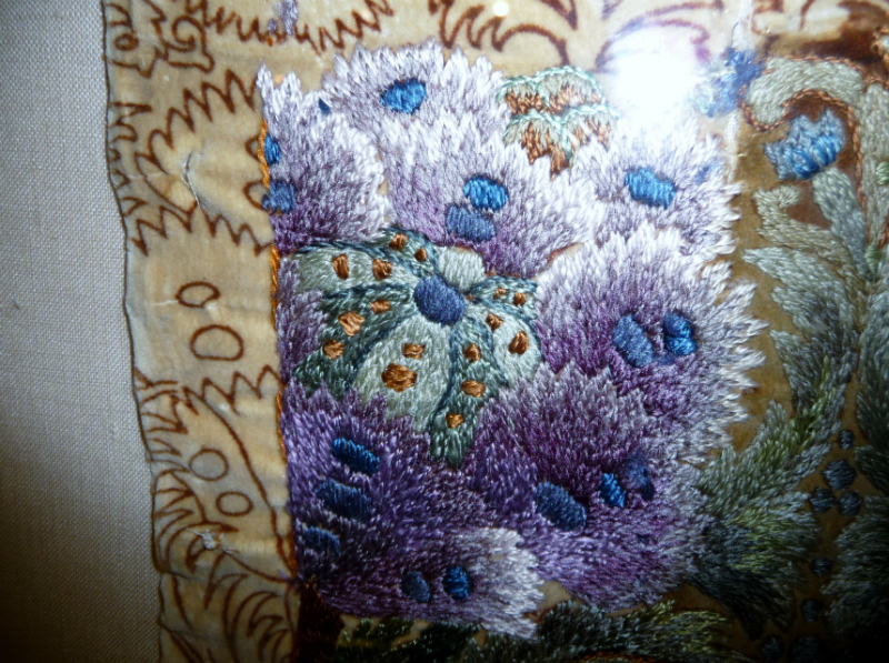 detail of embroidery from Leek Embroidery Society panel, 1890, design is