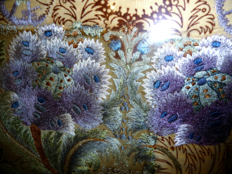 """detail of embroidery from Leek Embroidery Society panel, 1890, design is """"Indian Poppy"""" by William Morris. Finished embroidery may have been used as a chair seat cover"""