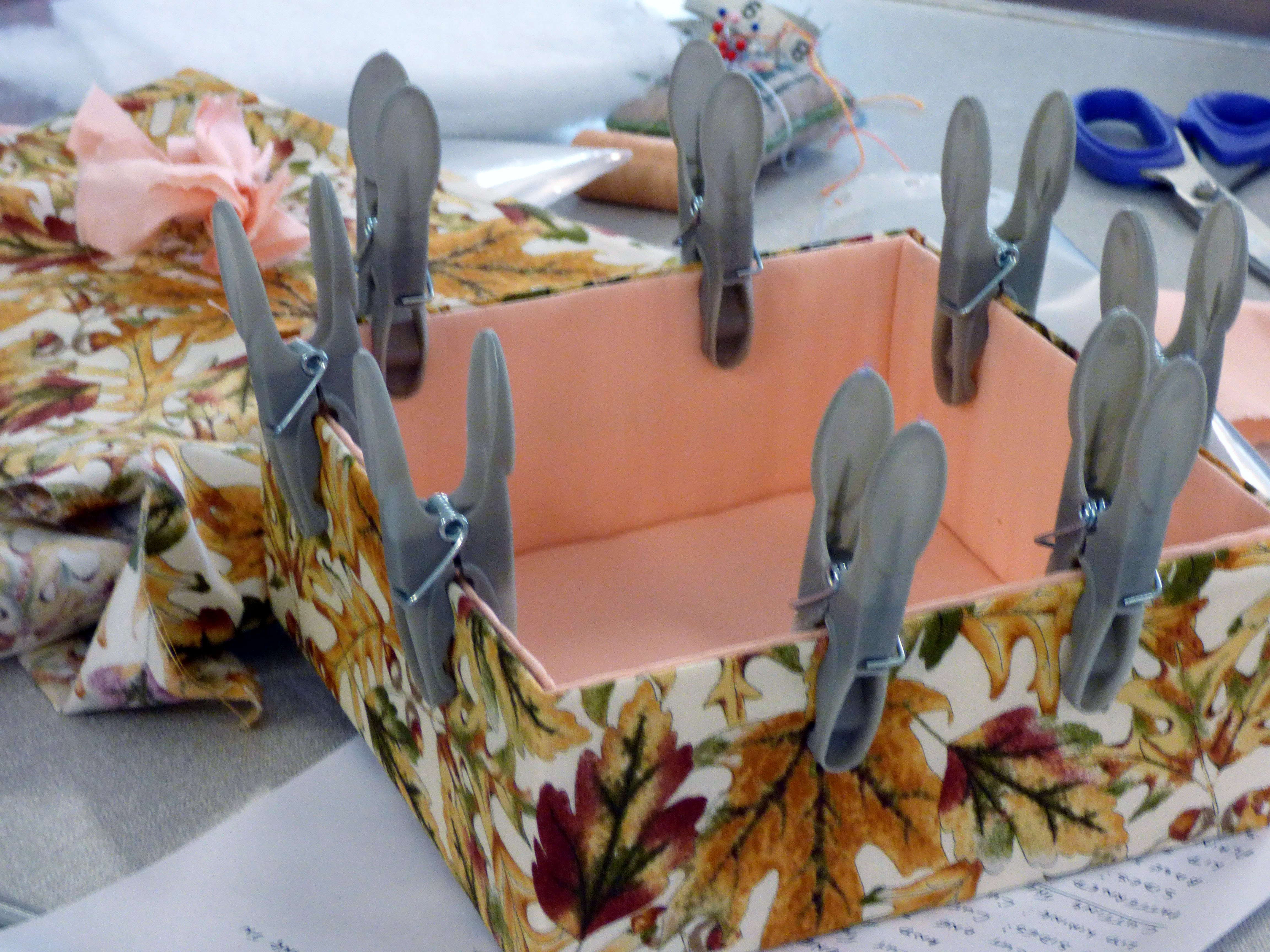 the lining has been glued inside the box at MEG Napkin Box Workshop with Val Heron