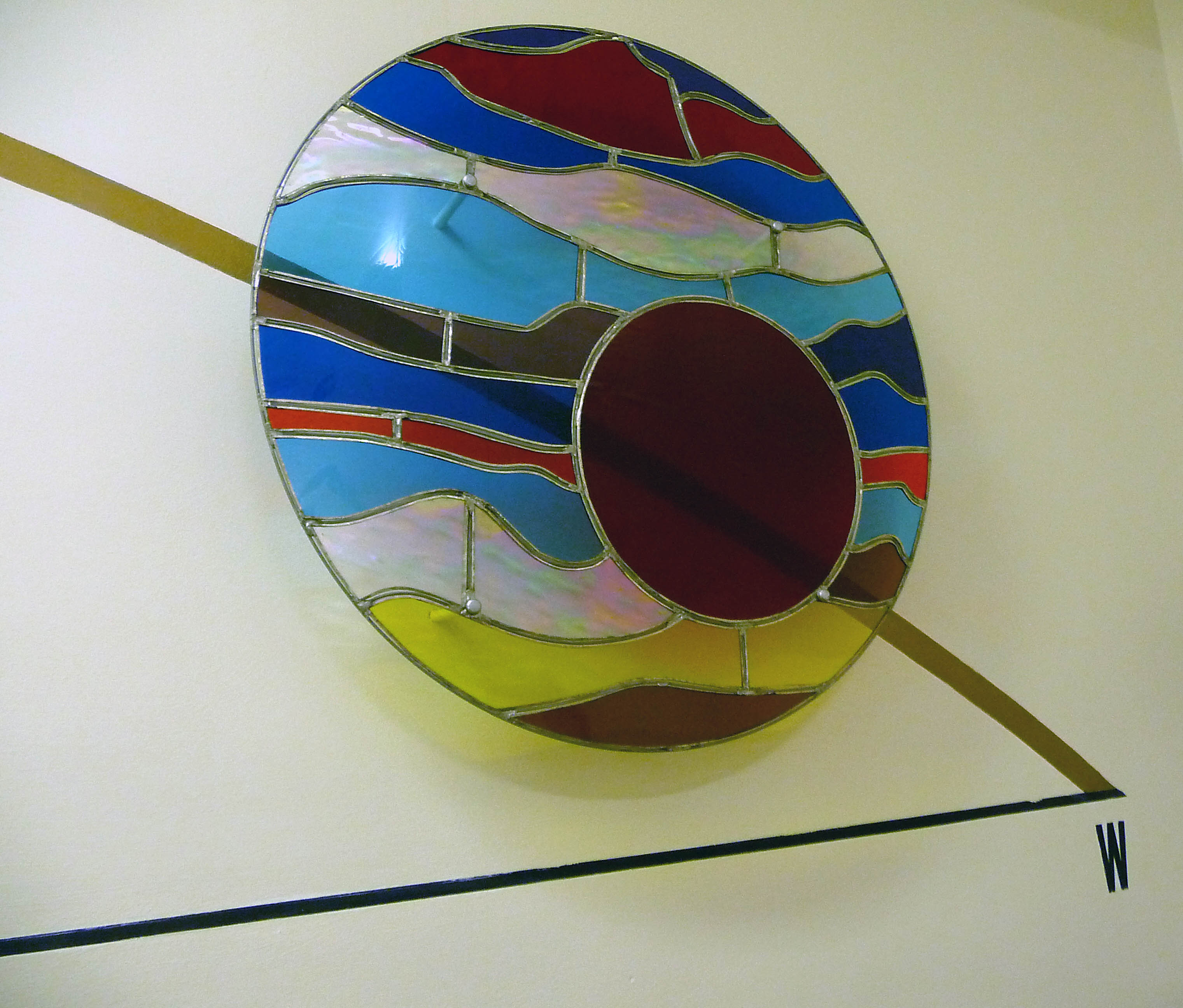 MOTIONS OF THE SUN (SUNSET), 1998 by Alan Ditman, 1998, foiled stained glass, steel wire, paint