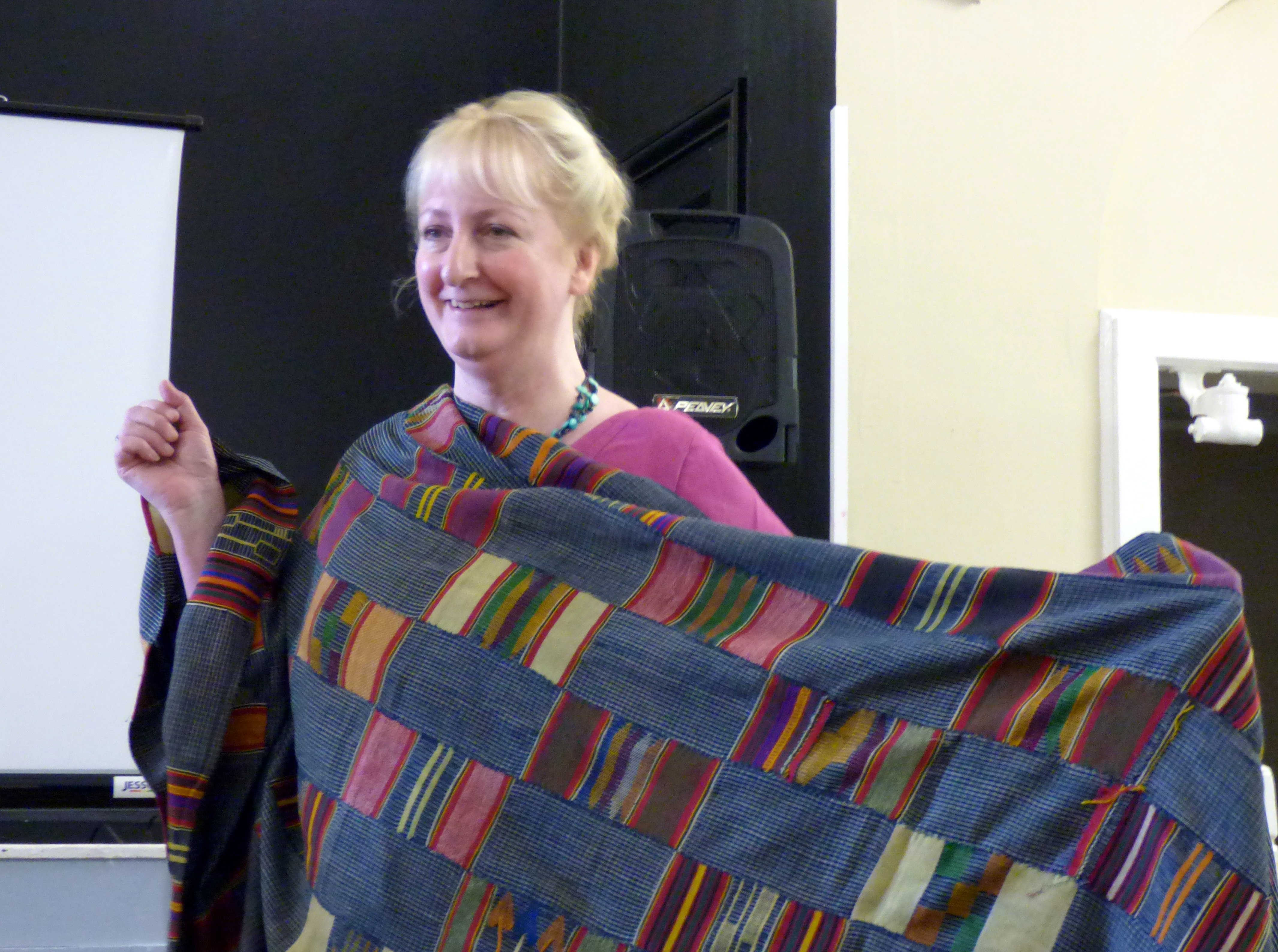 West African strip cloth shown by Magi Relph and modelled by Sarah Lowes