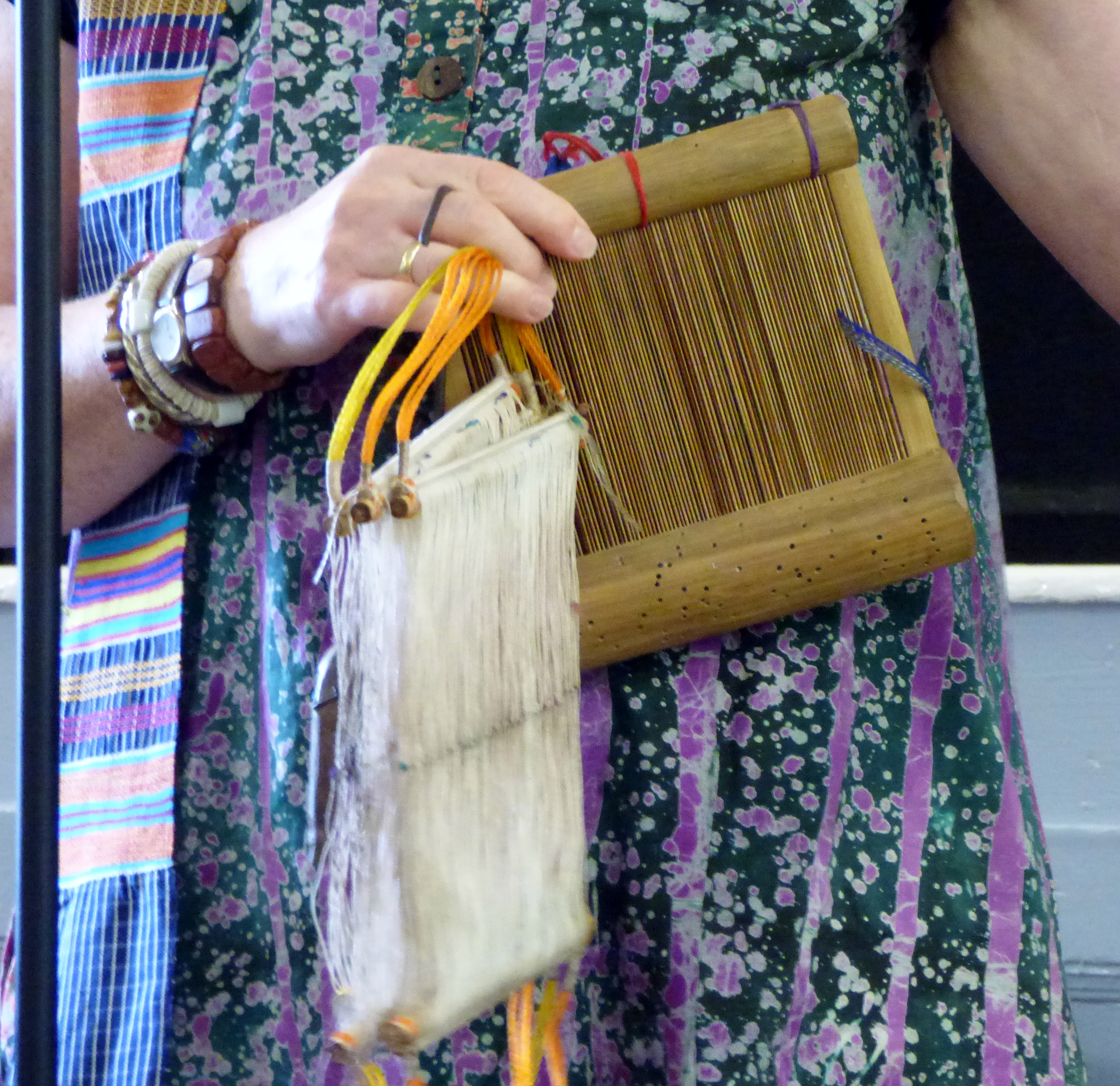 bamboo hand loom used to weave West African strip cloth