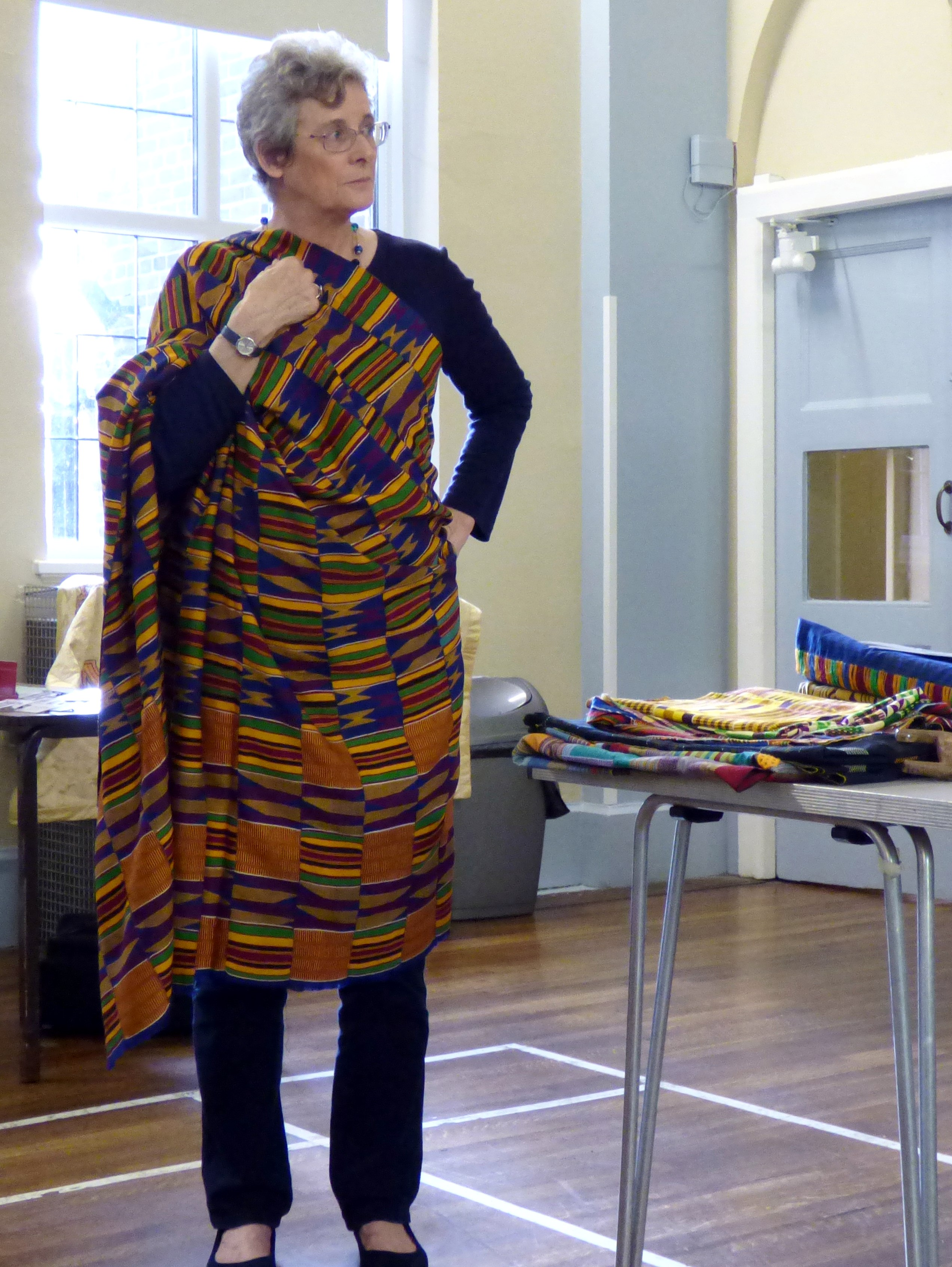 West African strip cloth shown by Magi Relph and modelled by Kim Parkman