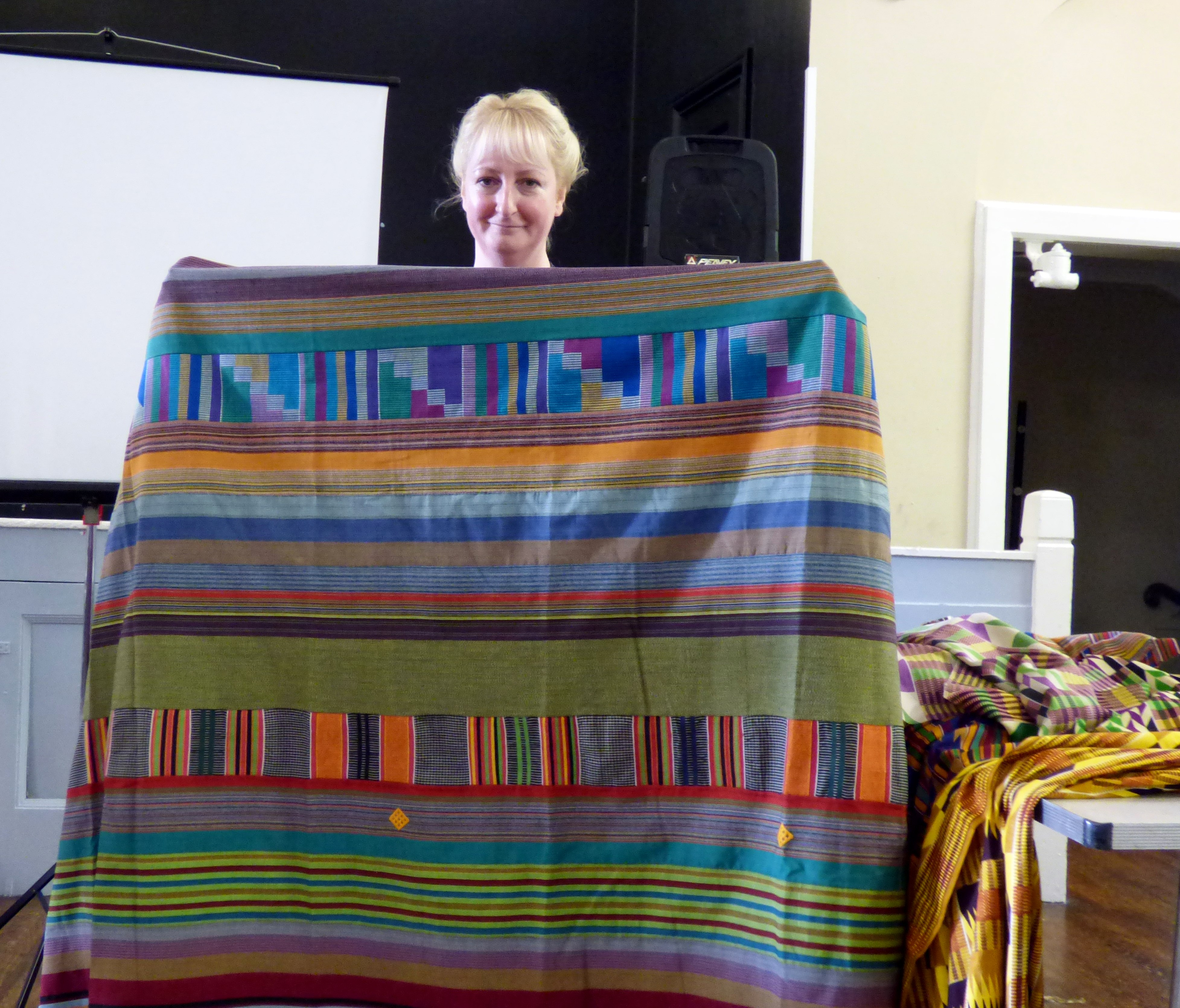 """West African cloth shown by Sarah Lowes at Magi Relph's """"Ashanti Inspirations"""" talk"""