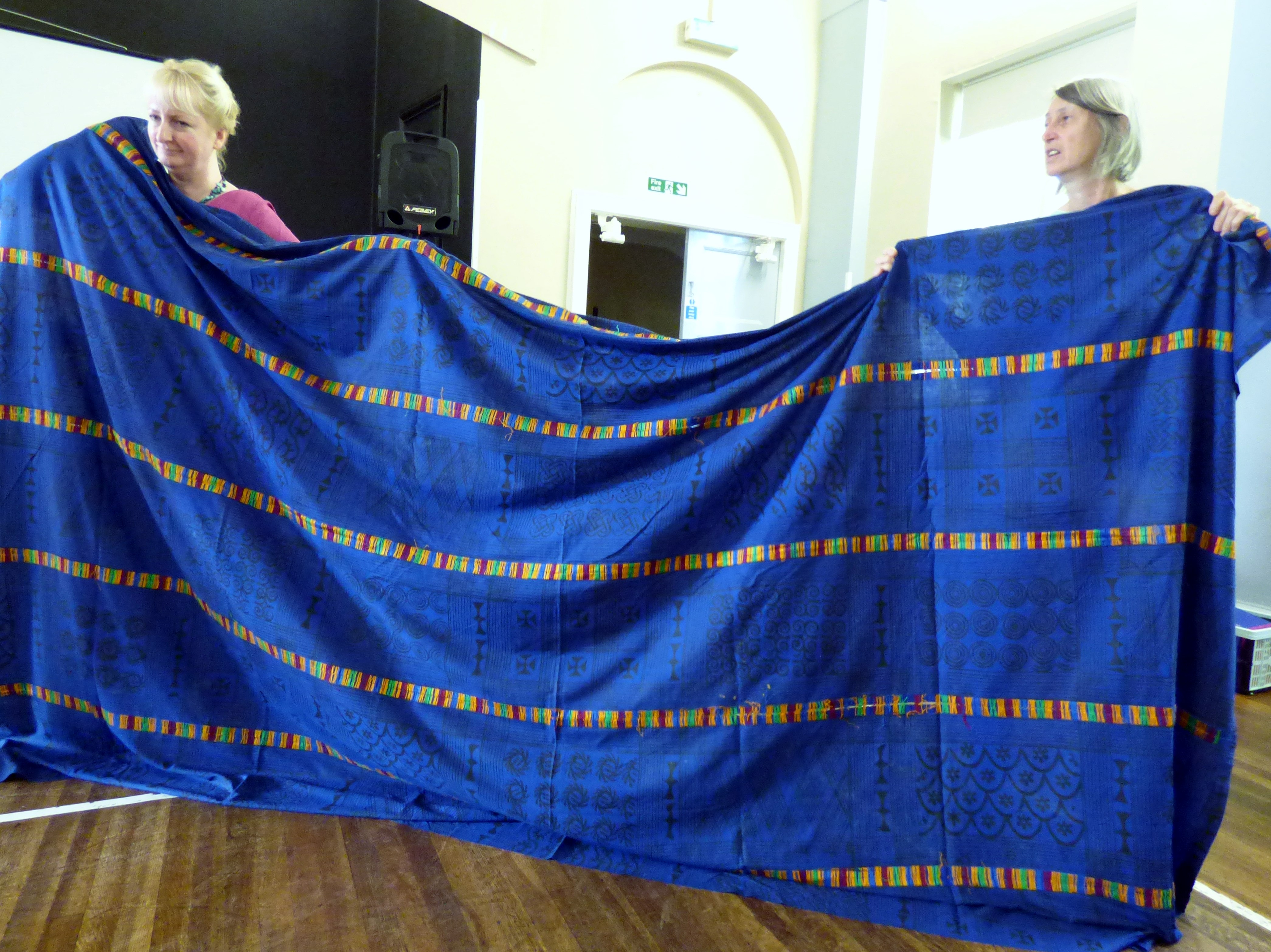 """West African funeral cloth displayed by Sarah and Helen at """"Ashanti Inspirations"""" talk by Magi Relph"""