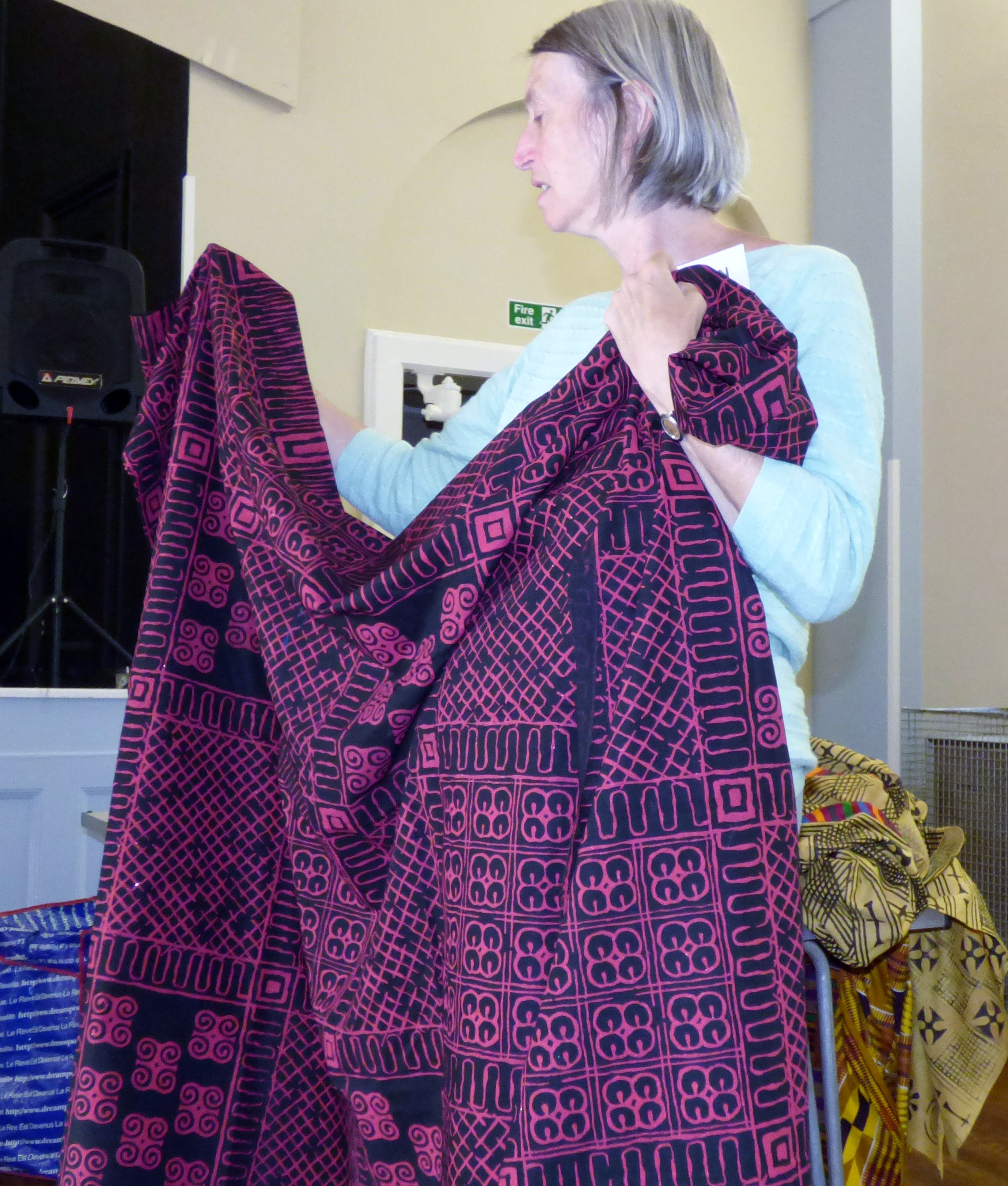 hand printed West African cloth displayed by Helen