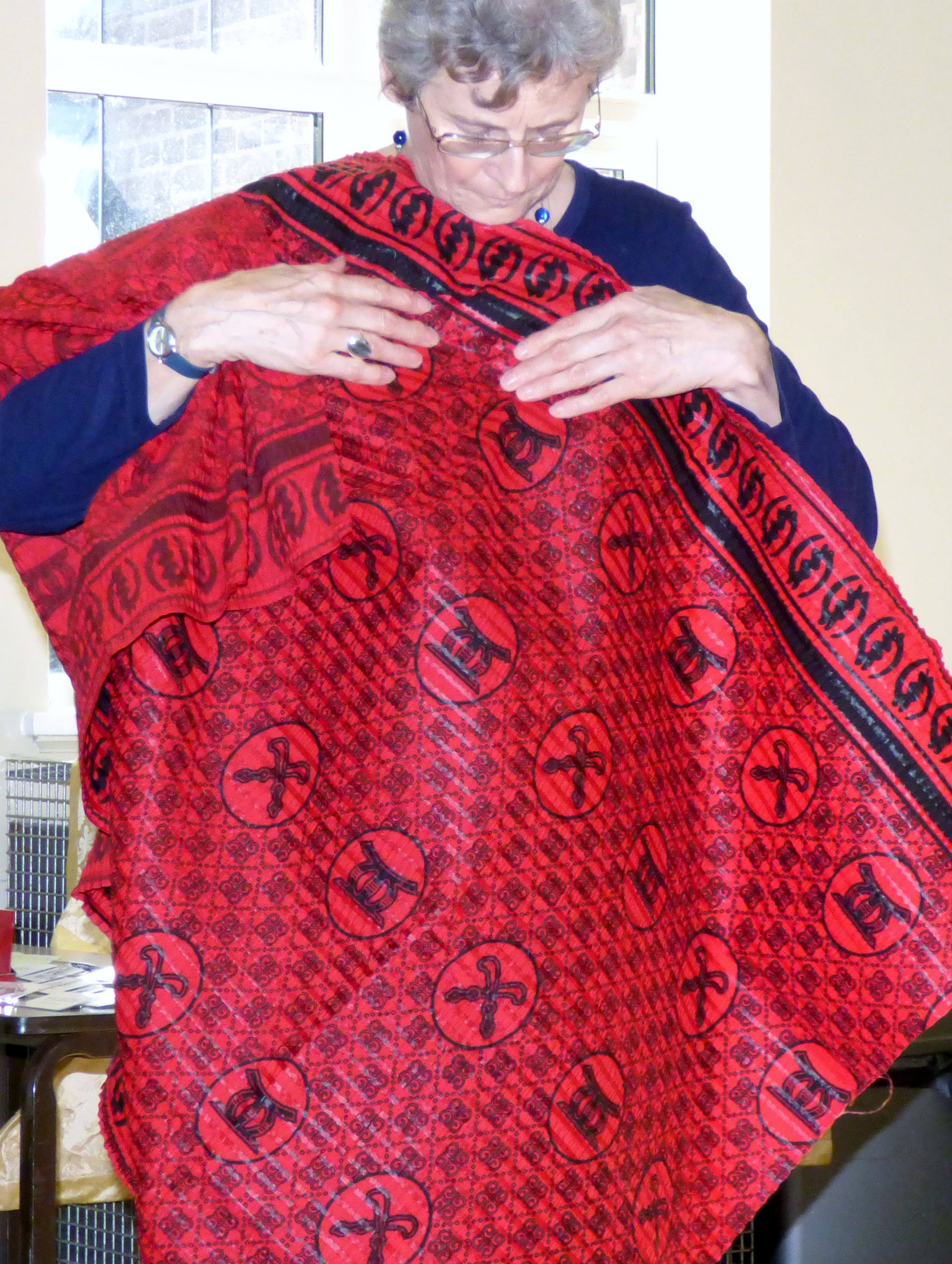 printed West African cloth modelled by Kim