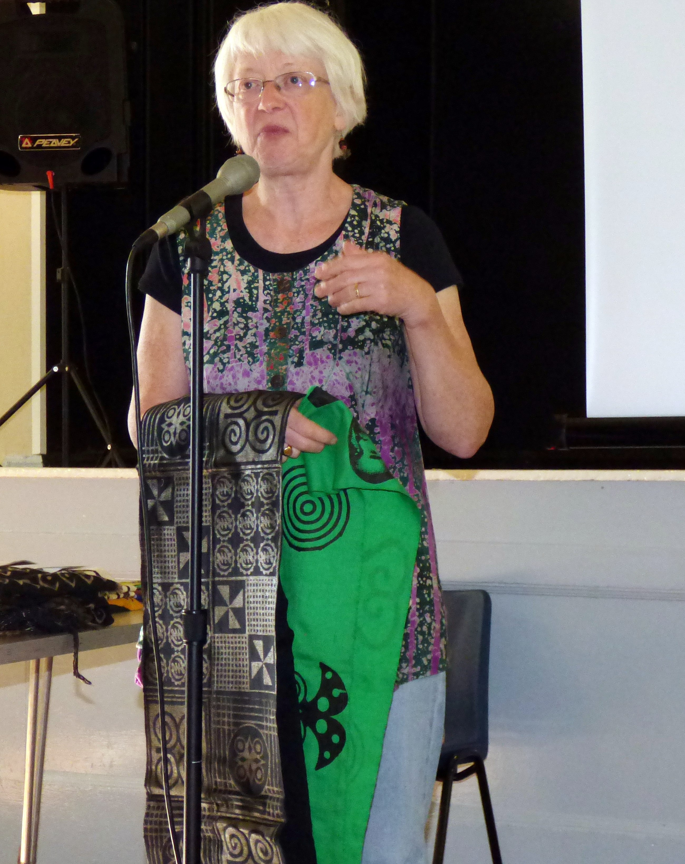 Magie Relph showing us West African printed cloths
