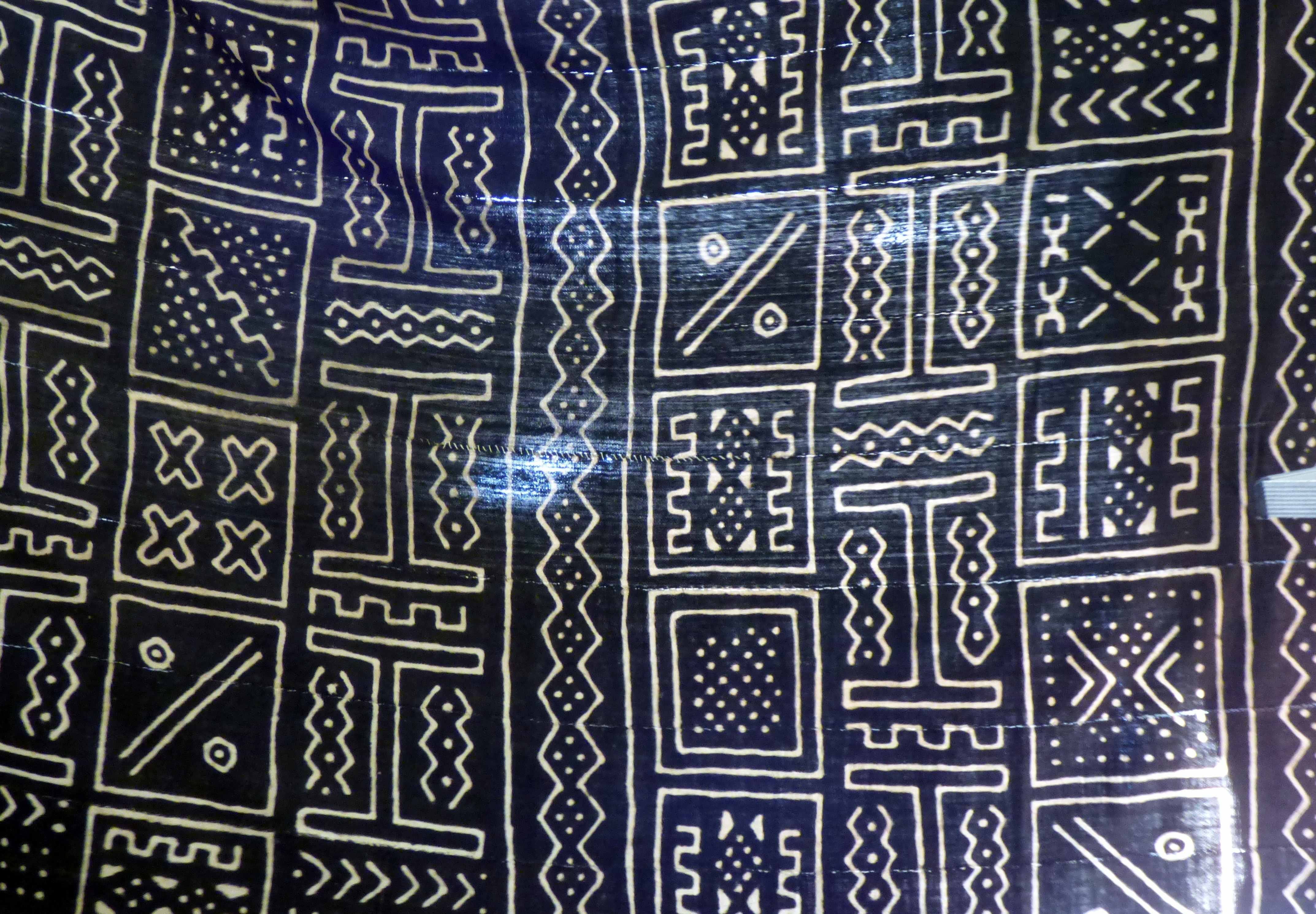 """West African mud cloth shown by Magie Relph at """"Ashanti Inspirations"""" talk"""