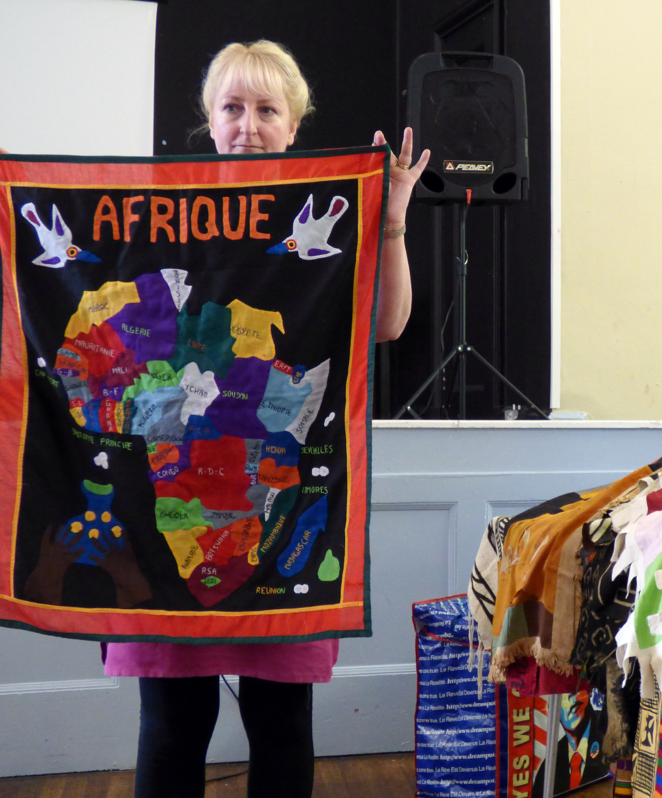 applique map of Africa displayed by Sarah Lowes