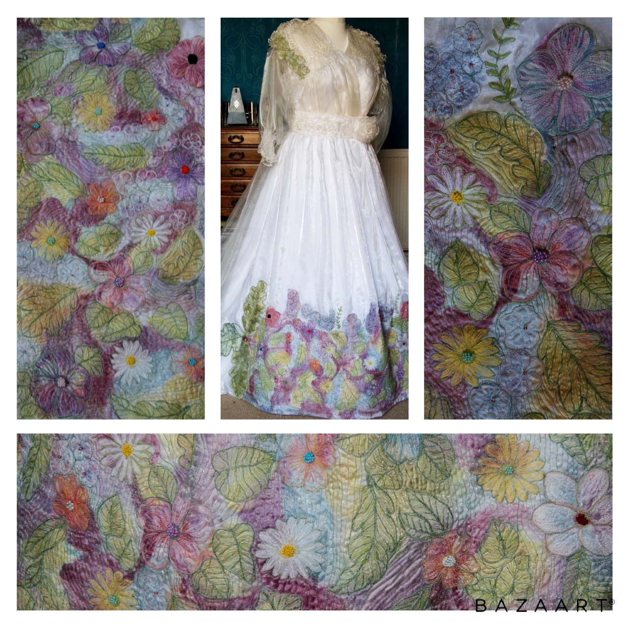 2nd Prize Winner, A DRESS FOR MISS ADELAIDE (front view and details) by Gill Roberts, Merseyside branch,  free machine embroidery over  silk  and organza, with additional details in appliqué, smocking, stumpwork and beadwork, Aurifil competition 2021