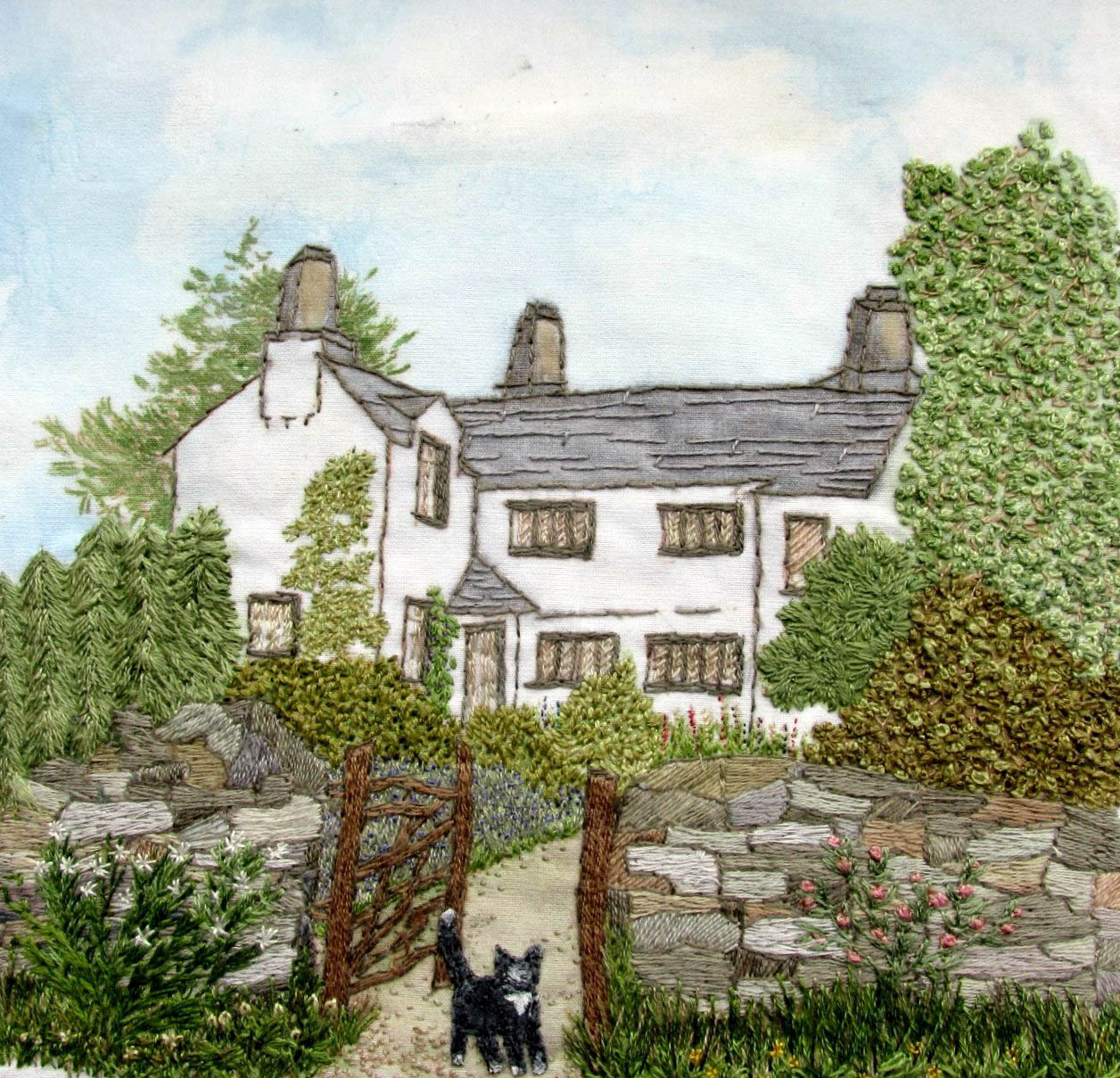 3rd Prize Winner, LAKELAND COTTAGE by Pat Blincoe, Rochdale branch, hand painted background with hand stitch, Aurifil competition 2021