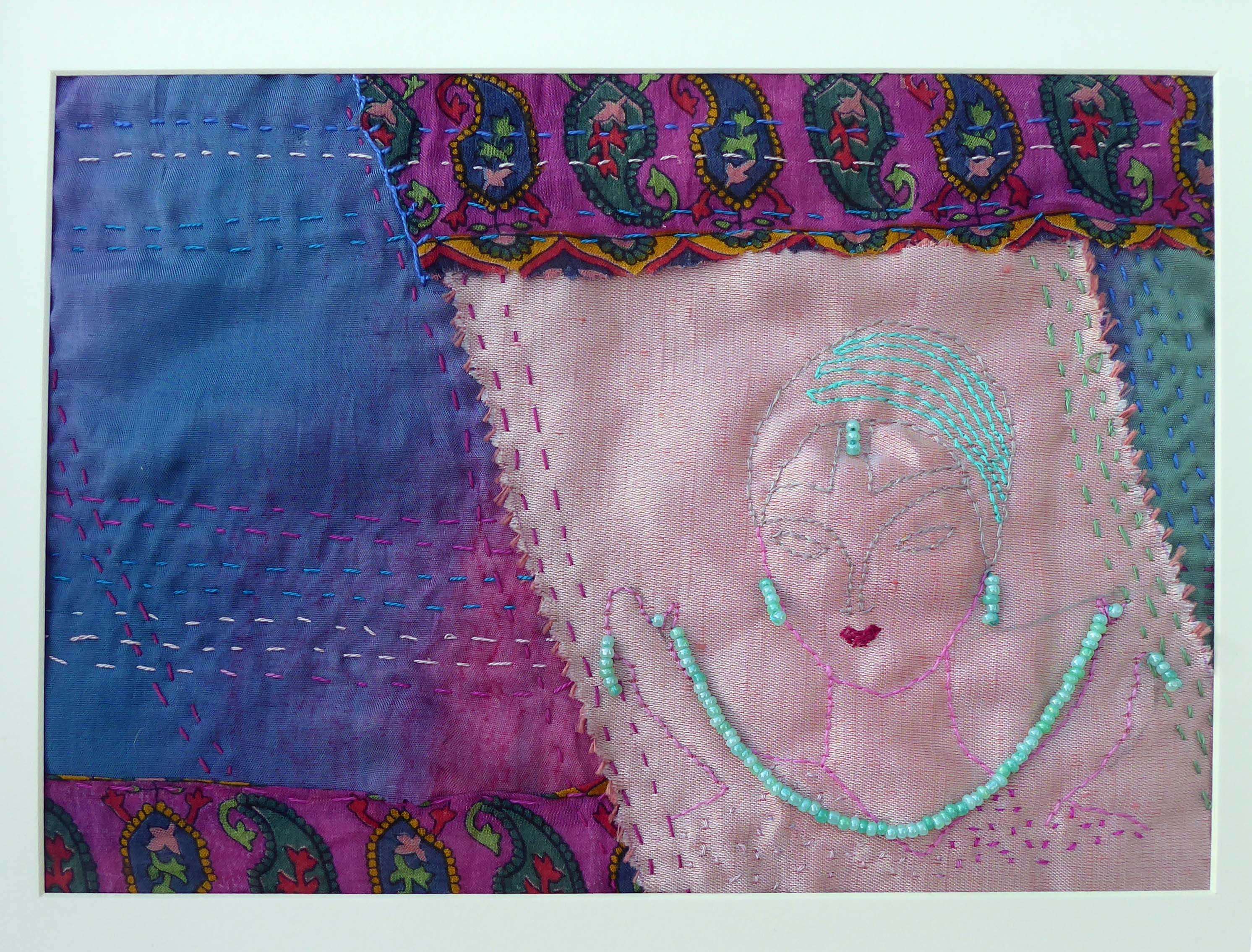 VOGUE by Val Coleshaw, Bolton and Pendle branches, made using a design from 1927 for inspiration, hand embroidery with added beads, Aurifil Competition 2021