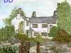 LAKELAND COTTAGE, hand painted background with hand stitch, Aurifil competition 2021