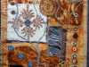 RUST 1, rust dyed fabric embellished with hand and machine embroidery