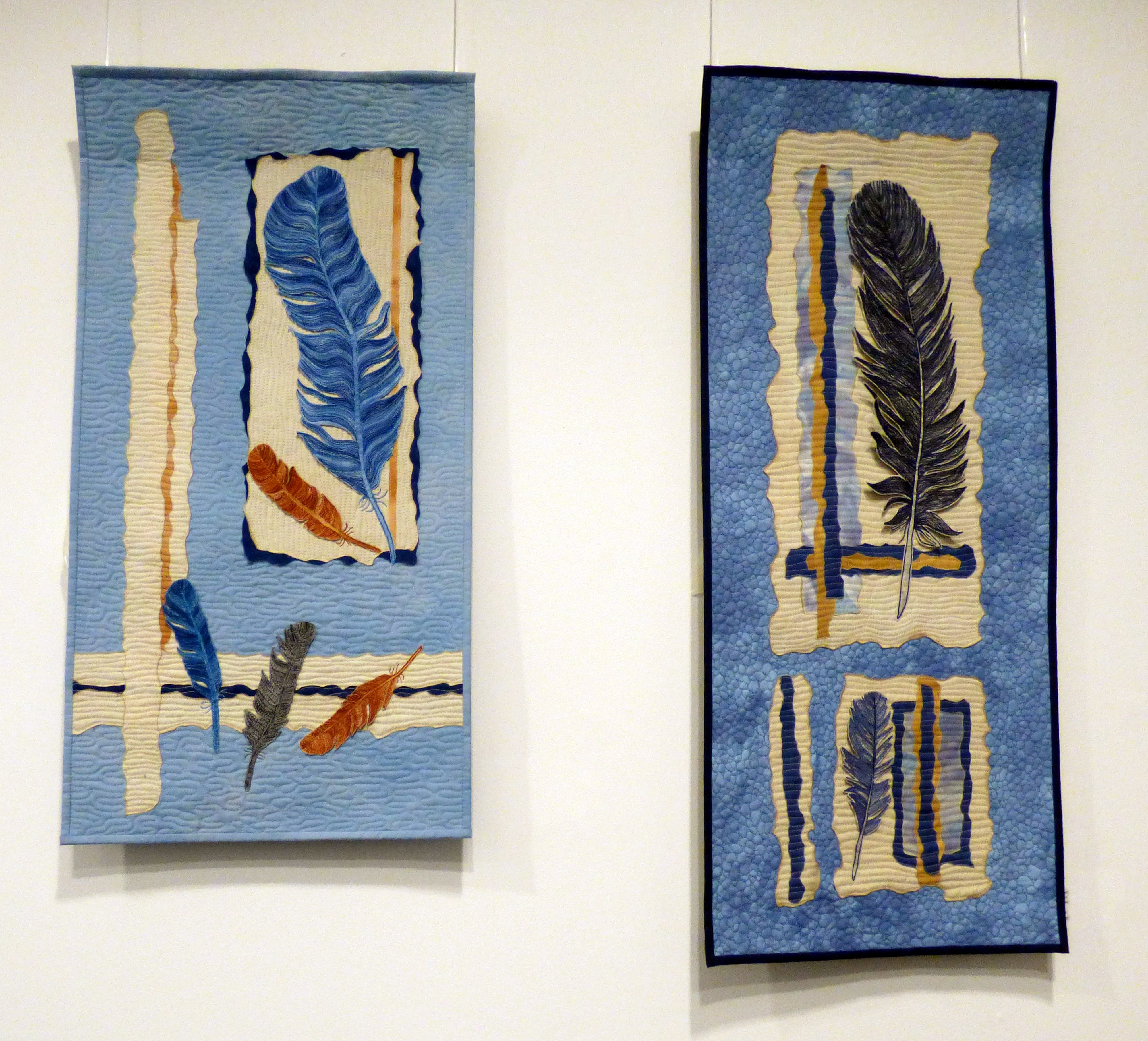 NATURE RAMBLE JAY and NATURE RAMBLE TWO by Jane Simpson, dyed, painted, machine quilted, Ten Plus @ The Atkinson, 2018