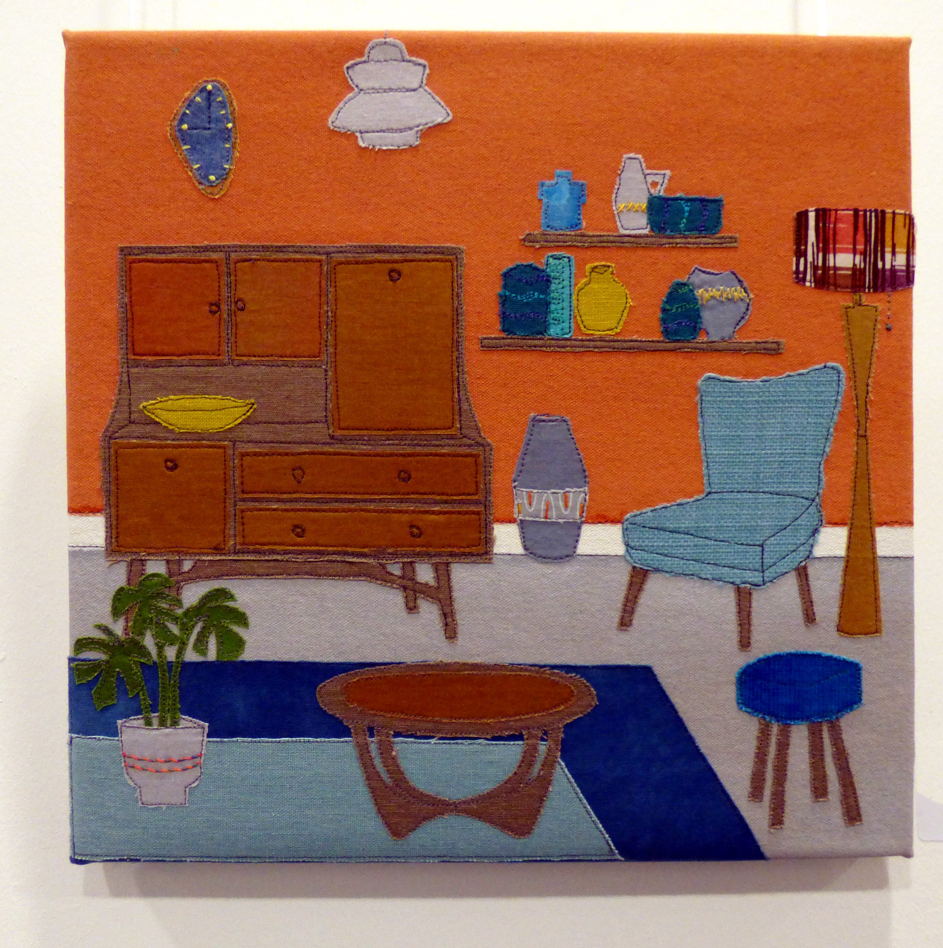 MID CENTURY RETRO by Linda Young, collage and stitch, Ten Plus @ The Atkinson, 2018