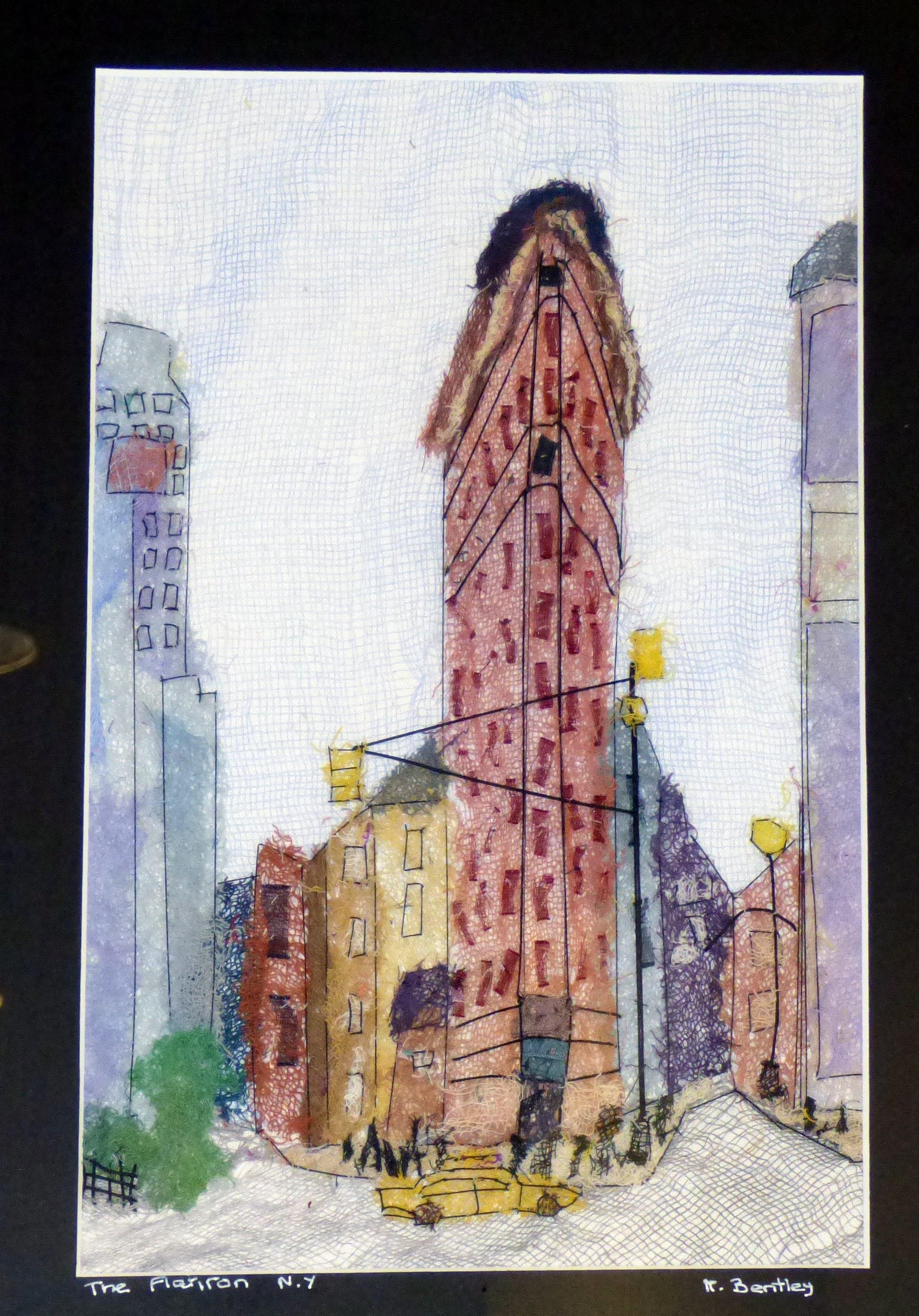 THE FLATIRON, NEW YORK by Mavis Bentley, hand embroidery in scrim & silk thread, Ten plus @ The Atkinson, 2018