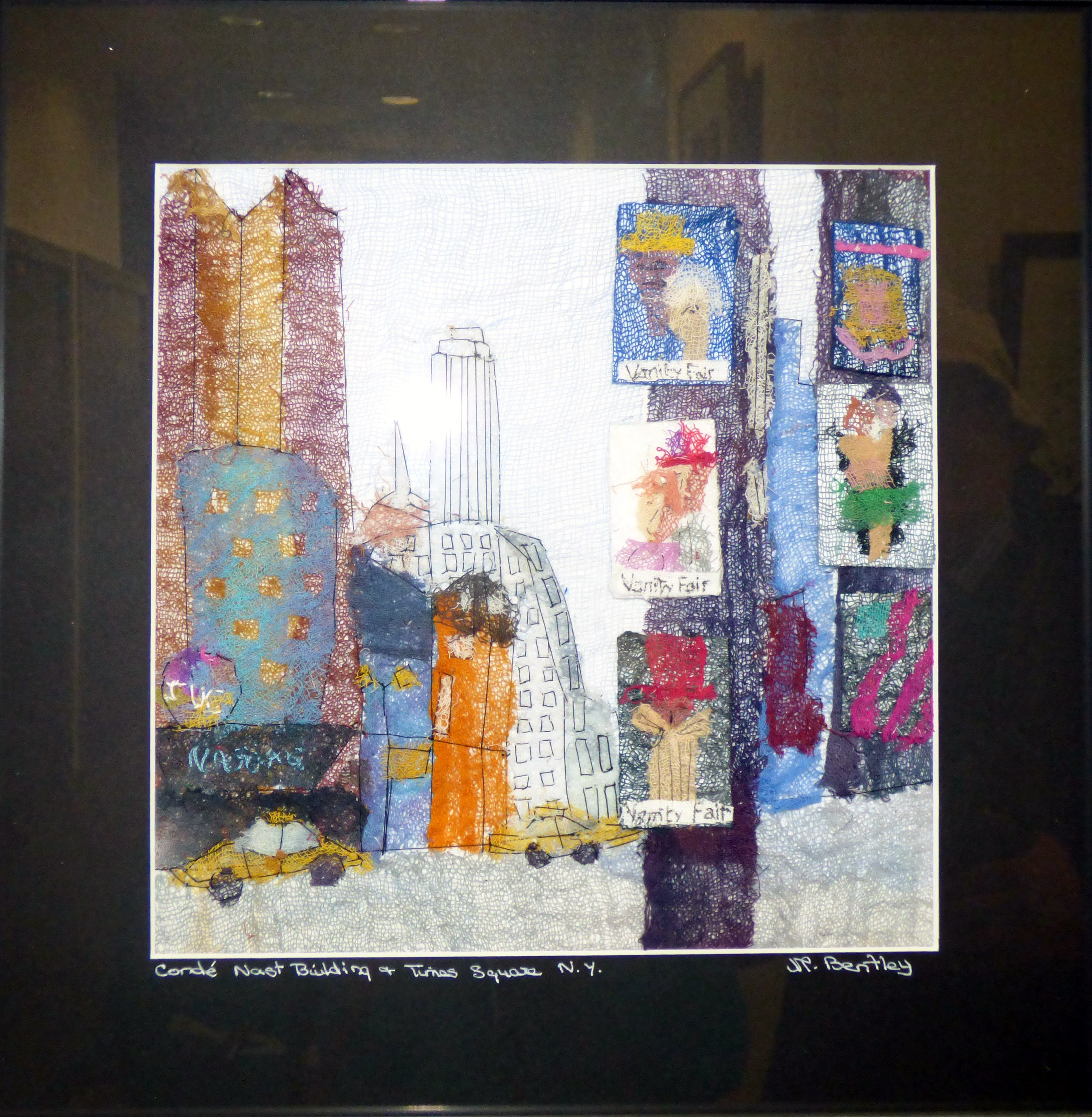 CONDE NAST BUILDING AND TIMES SQUARE, NEW YORK by Mavis Bentley, hand embroidery in scrim & silk thread, Ten Plus @ The Atkinson, 2018