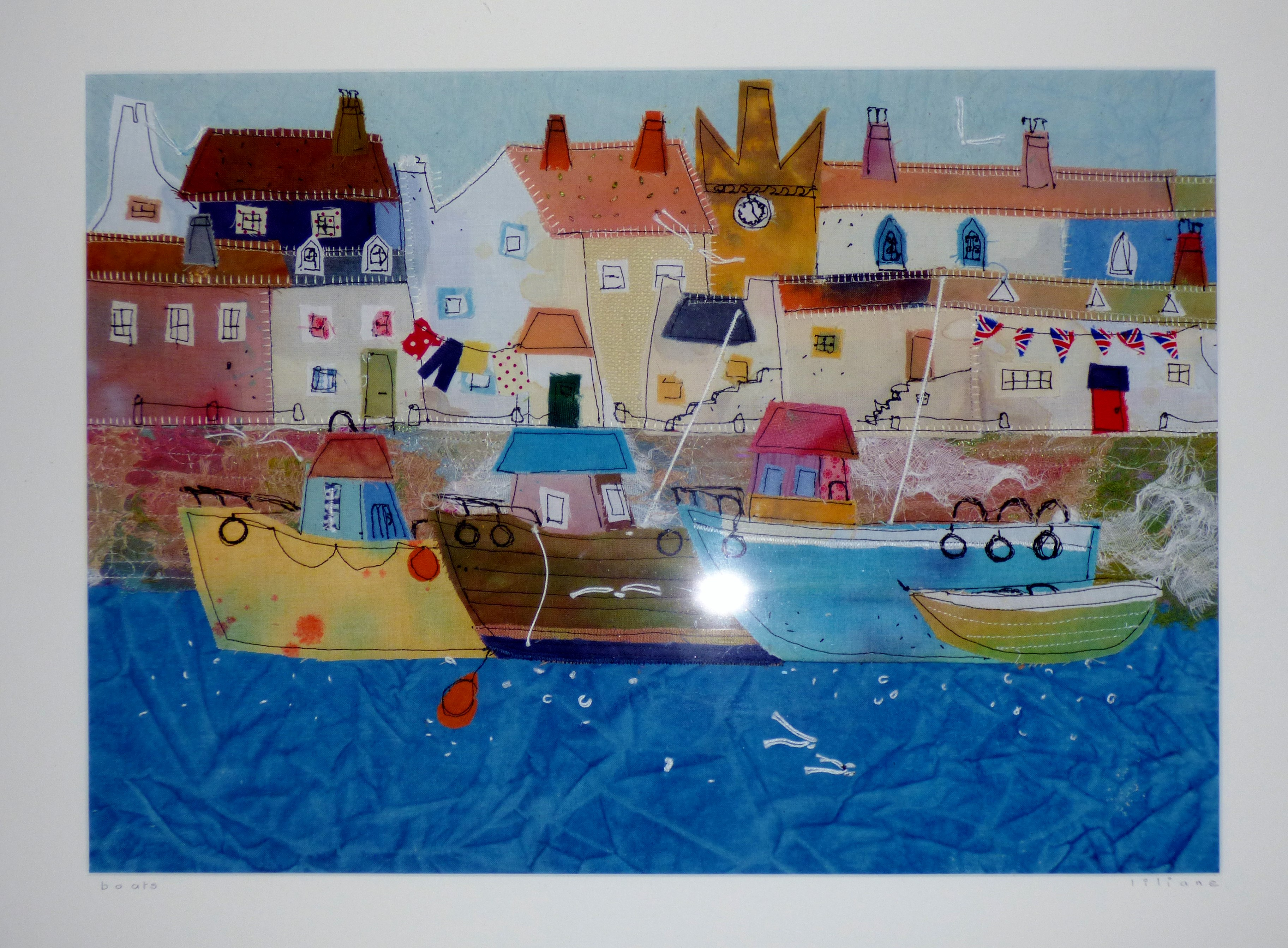 BOATS by Liliane Taylor, stitched picture, Ten Plus @ The Atkinson, 2018
