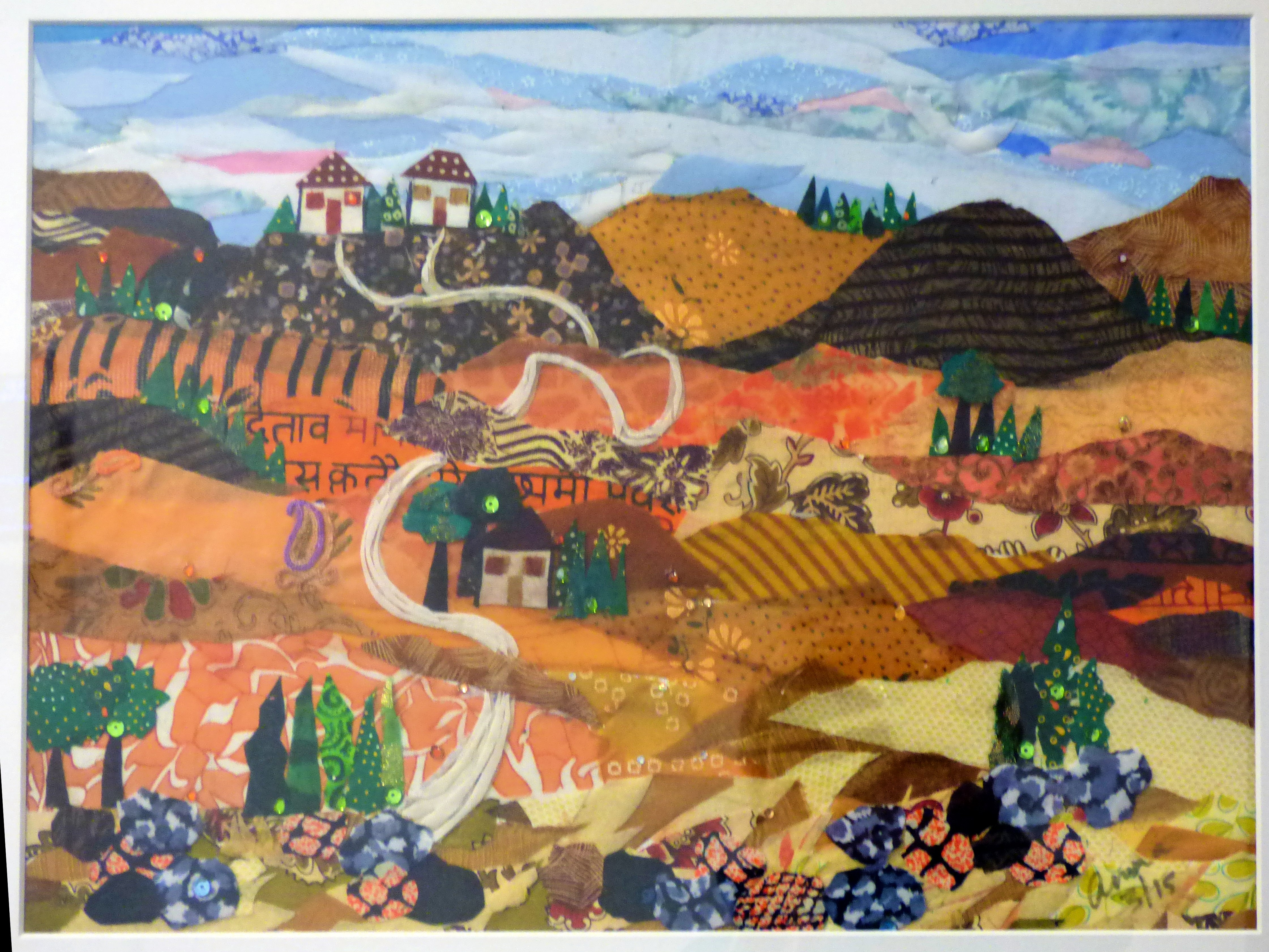 ARE WE THERE YET? by Aruna Mene, fabric collage, Ten Plus @ The Atkinson, 2018