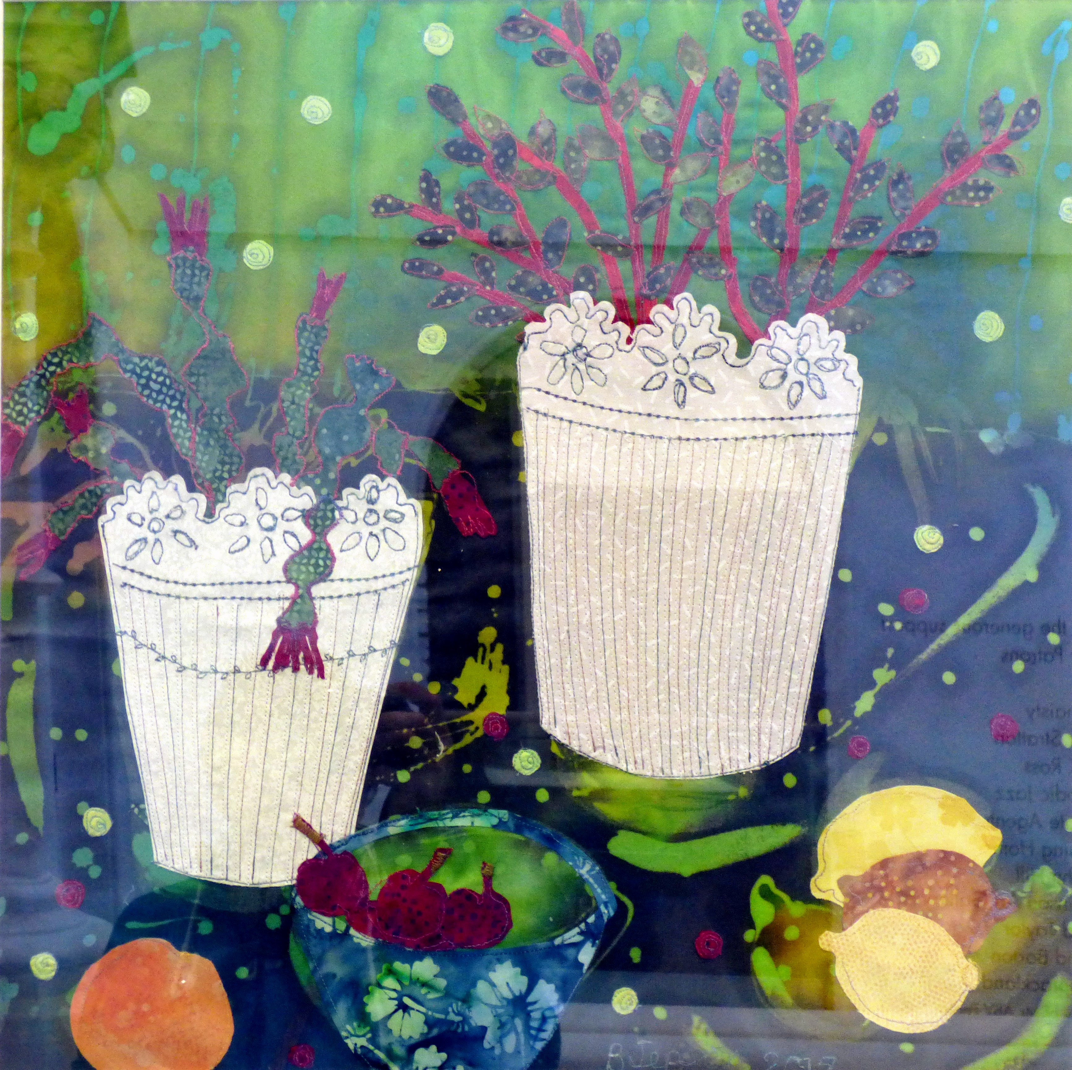 THREE LEMONS by Barbara Jepson, batik, applique & machine stitch, Ten Plus @ The Atkinson, 2018